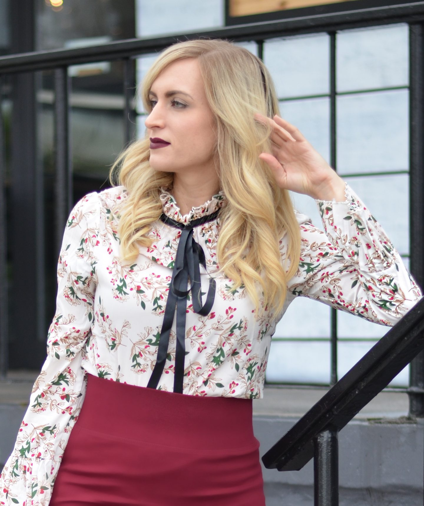 work day outfit floral bow tie neck blouse