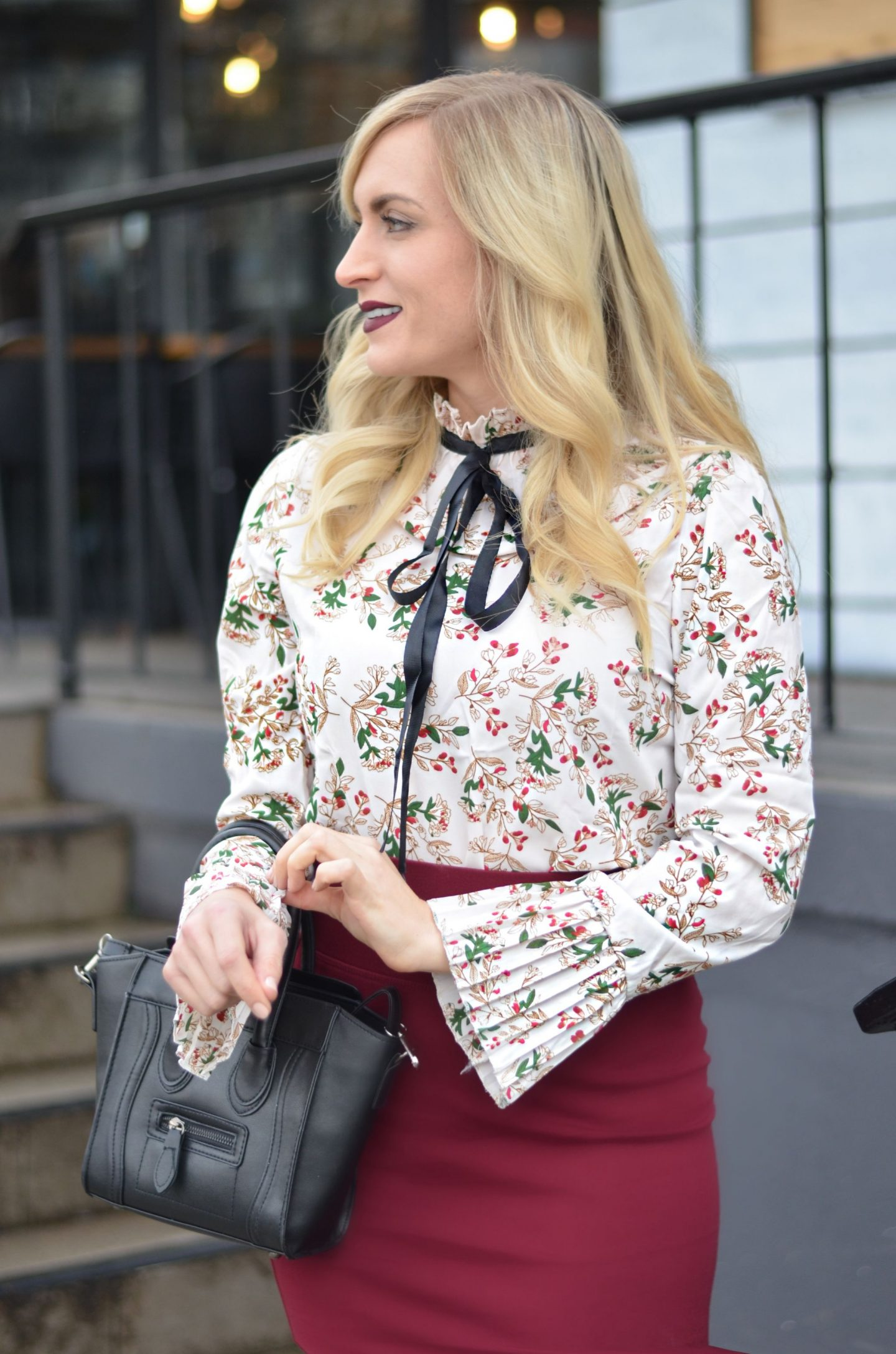 floral accordian pleat sleeve blouse from SheIN