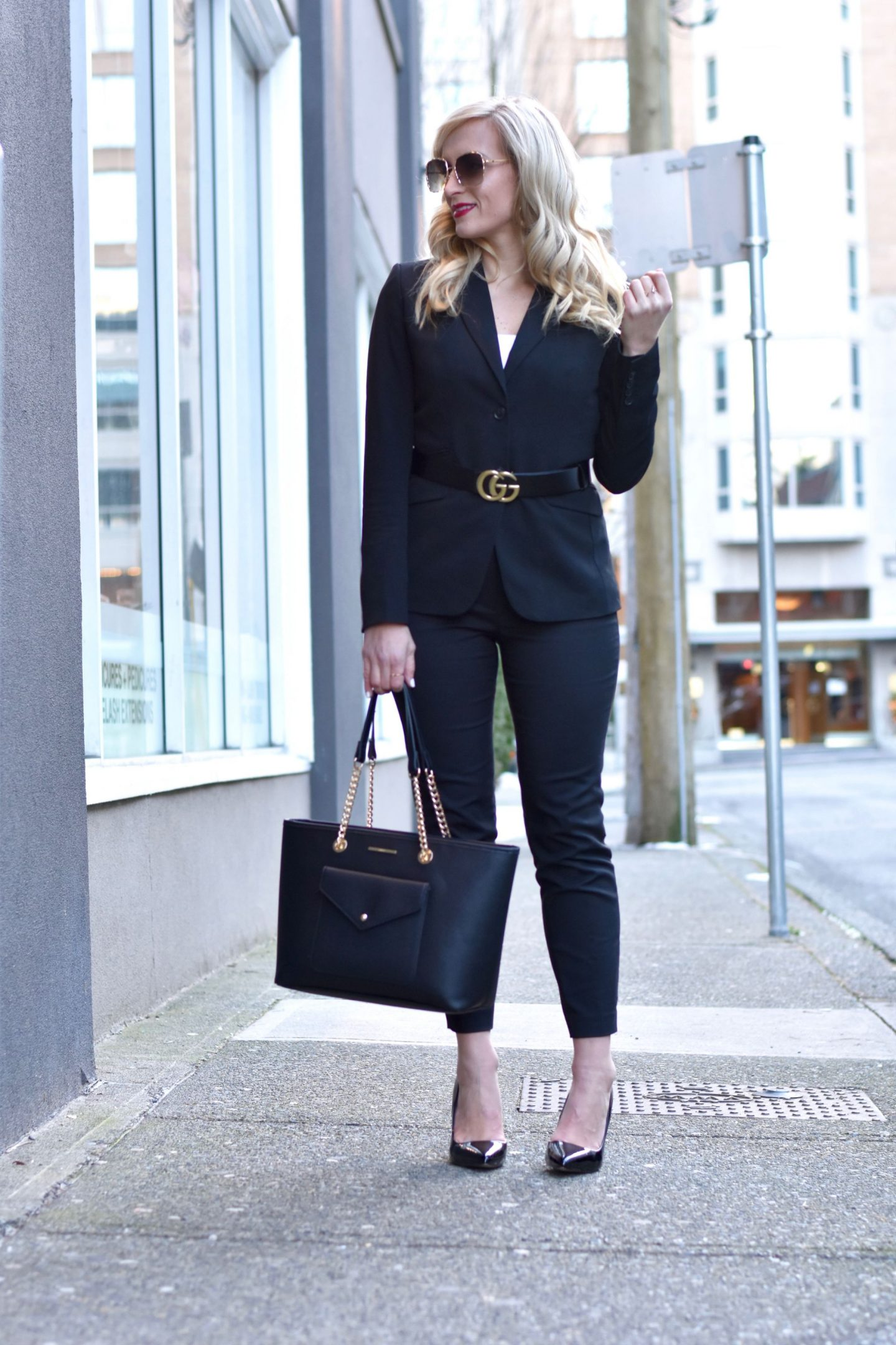 corporate outfit idea belted pant suit