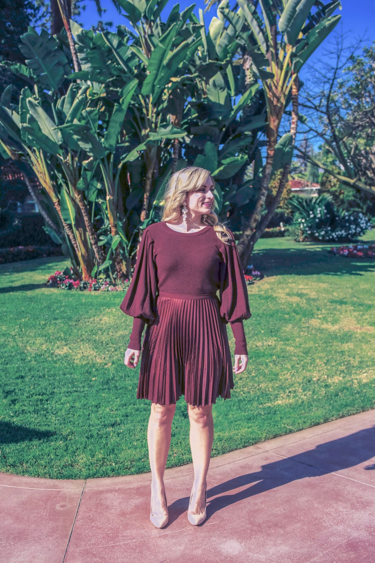spring outfit balloon sleeve sweater and pleated midi skirt