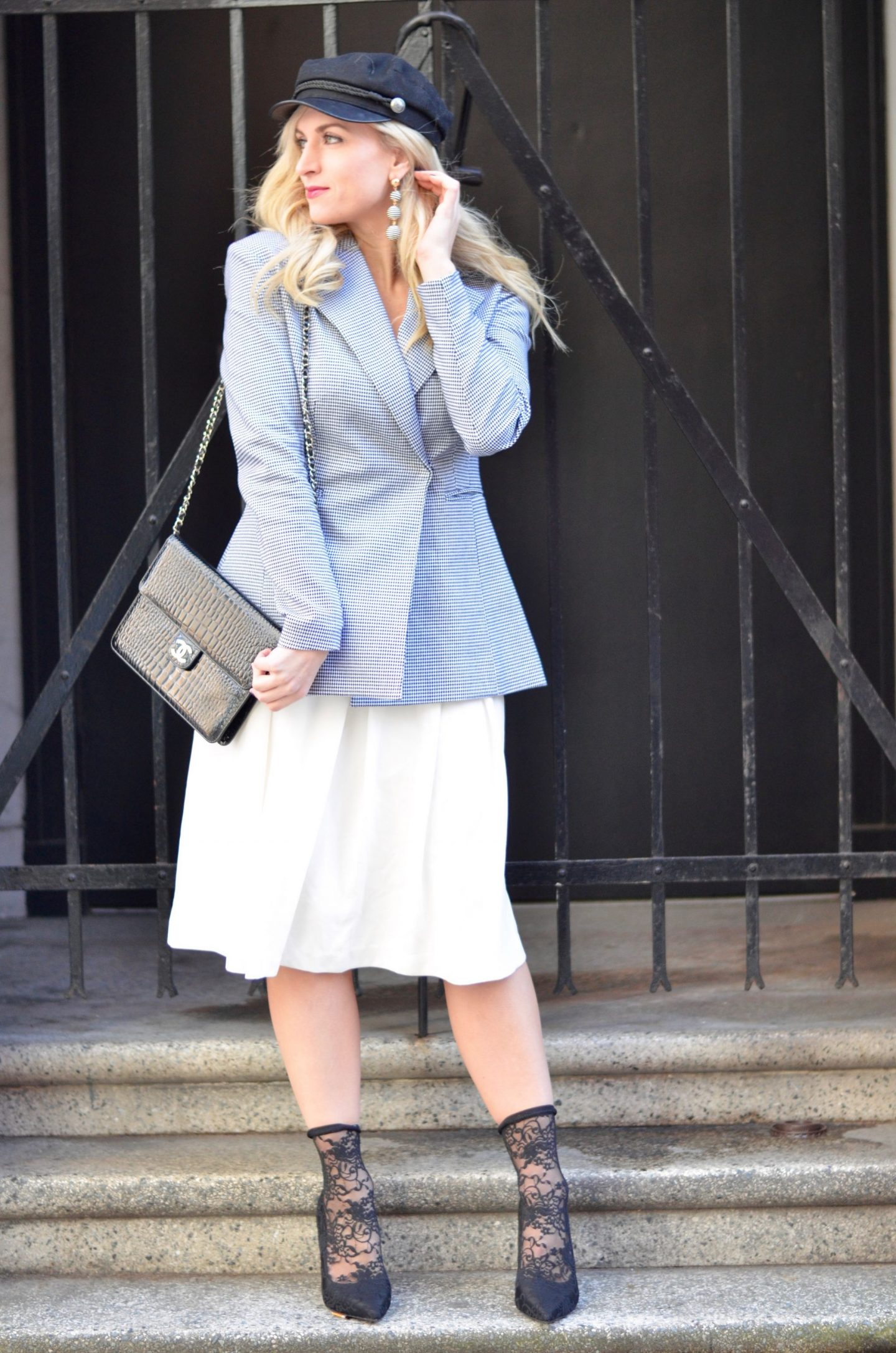 Houndstooth Blazer and Midi skirt outfit