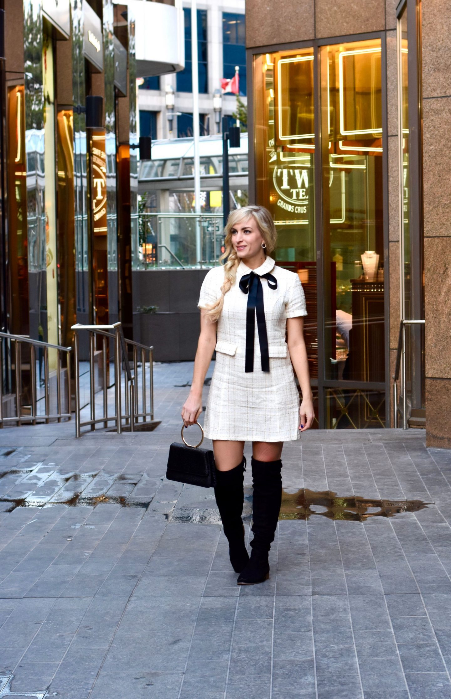 early spring outfit idea tweed mini dress and over the knee boots