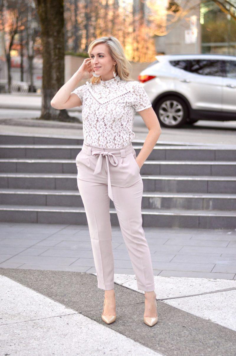 Tie Waist Pants & A Cream Lace Top