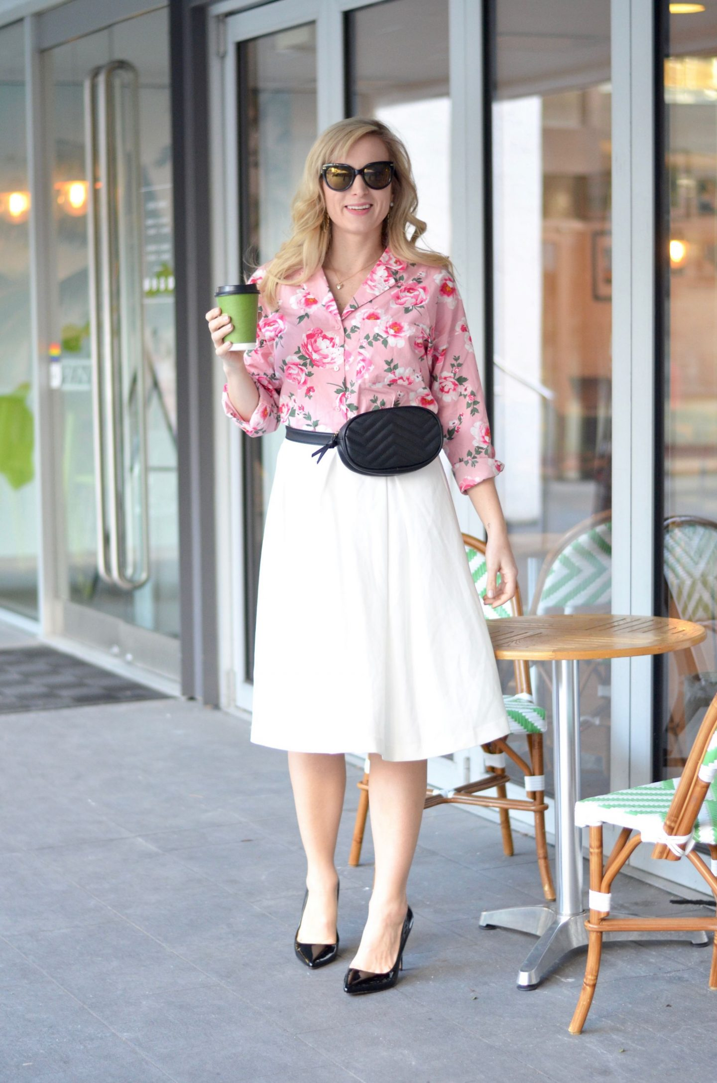 white midi skirt and floral print blouse