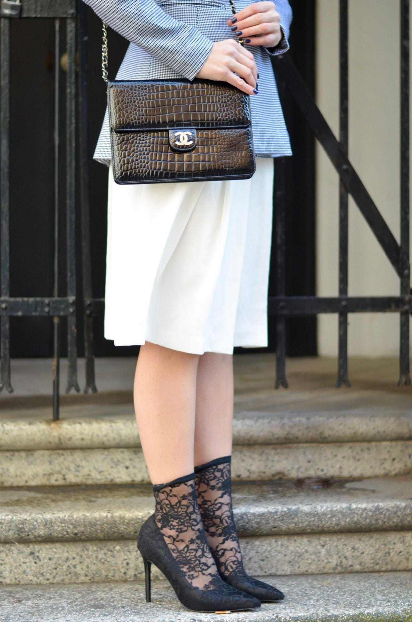 chanel bag and ASOS lace sock heels