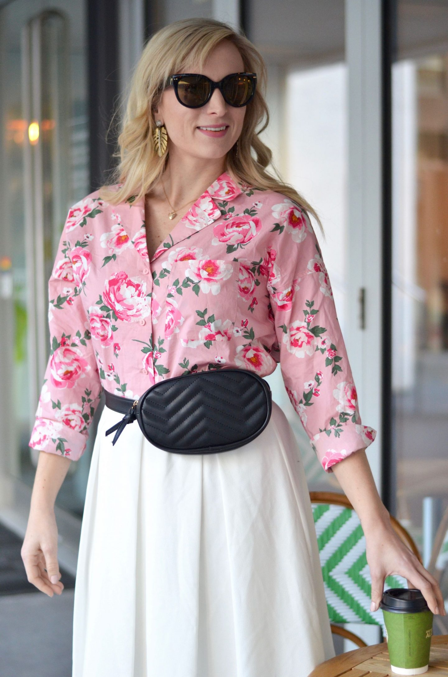 how to style a midi skirt and fanny pack