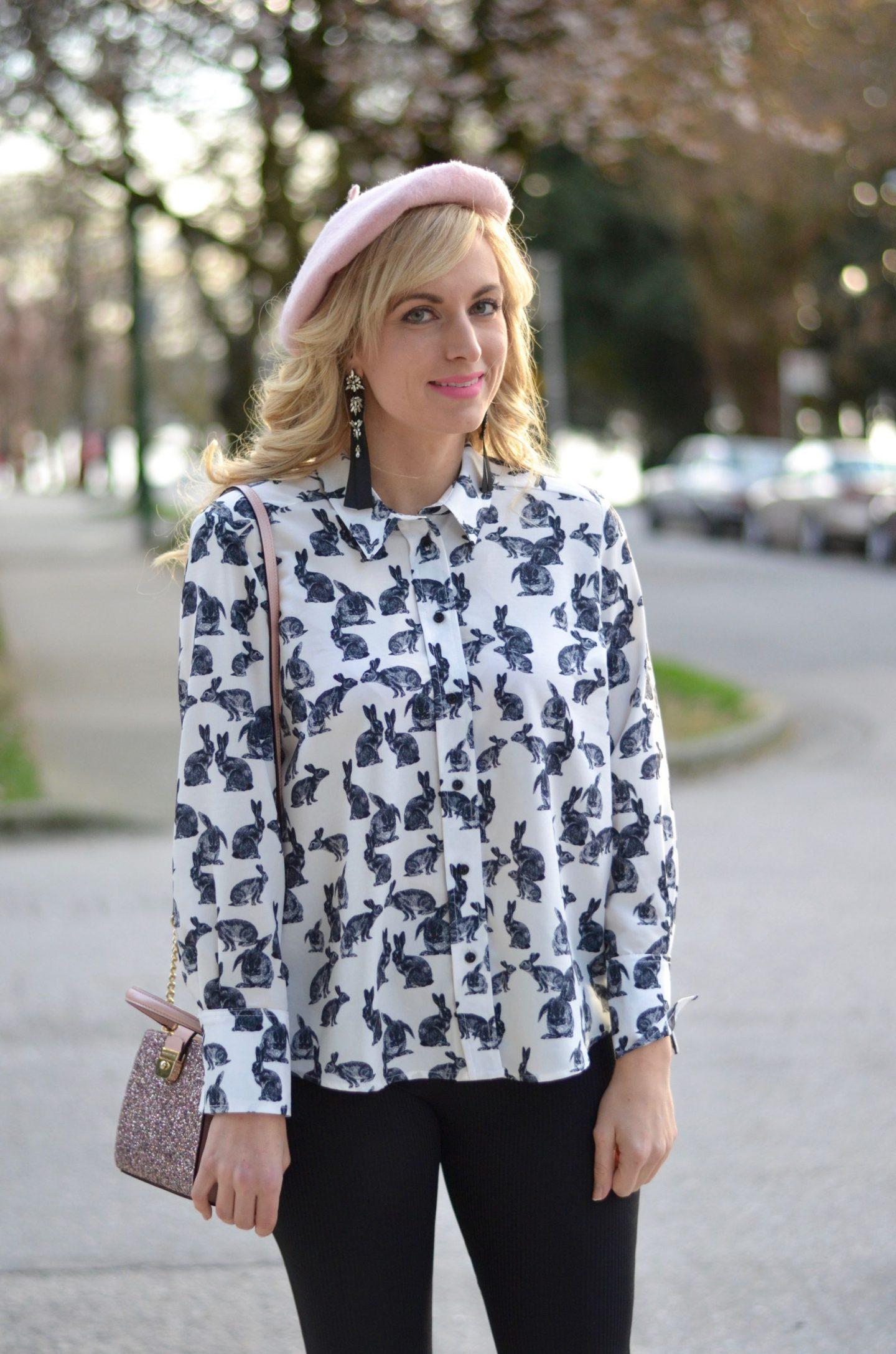 topshop outfit rabbit print blouse