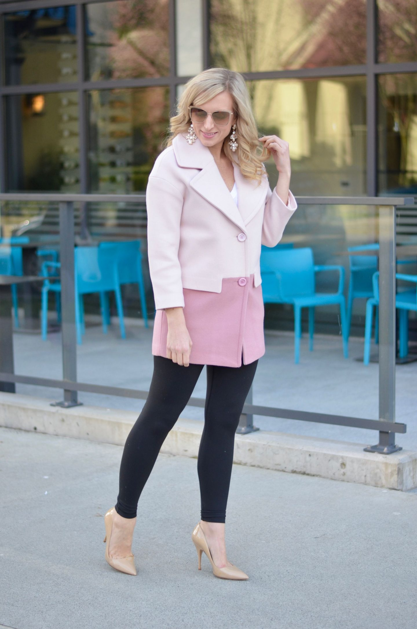 two tone pink wool coat