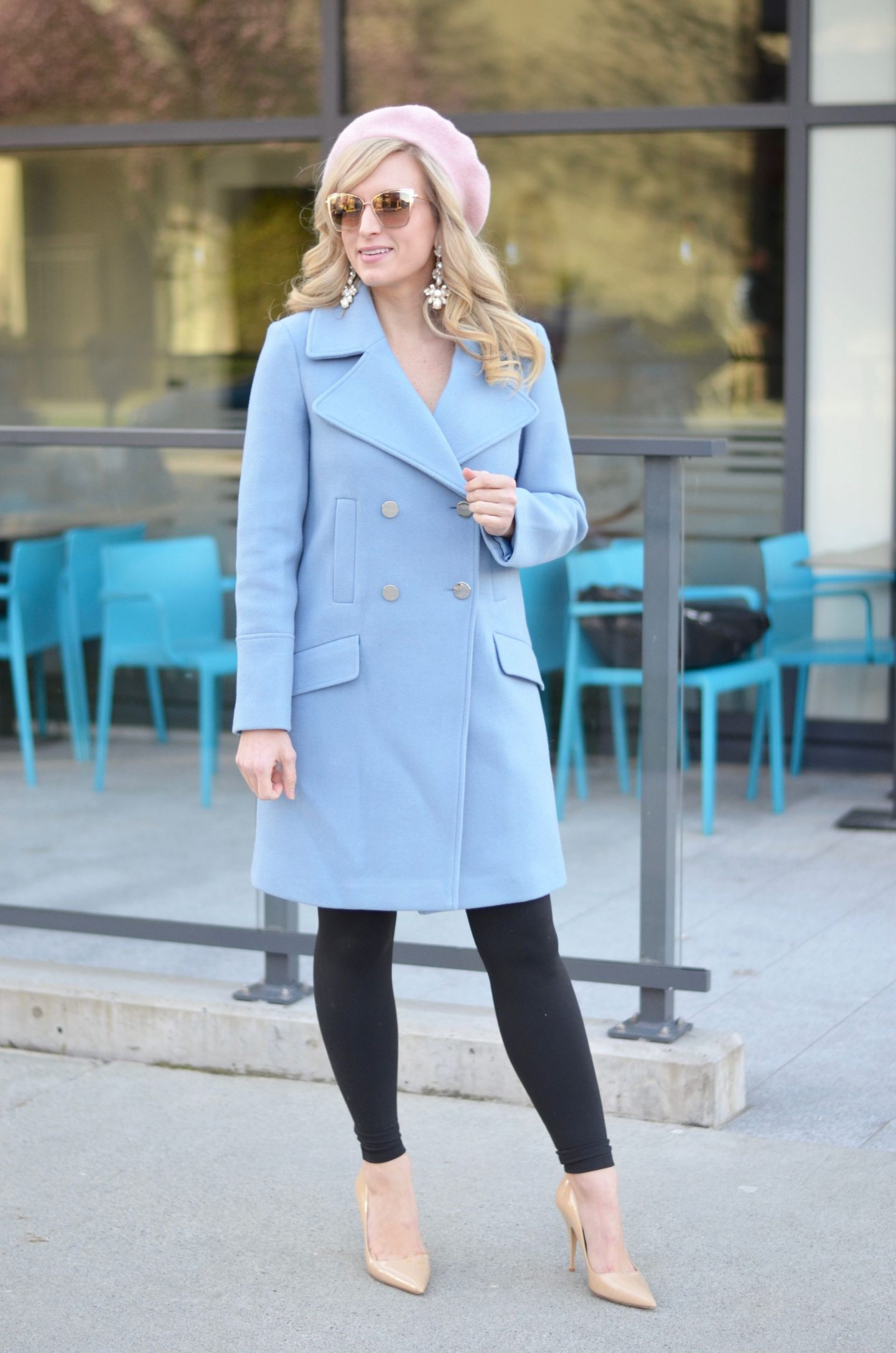 pastel blue coat and pink beret spring outfit