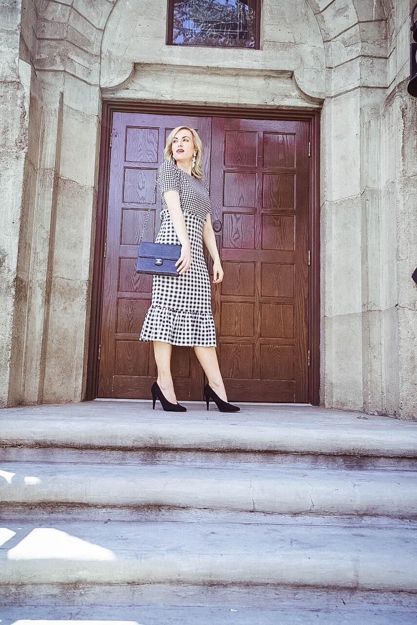 spring office wear gingham dress