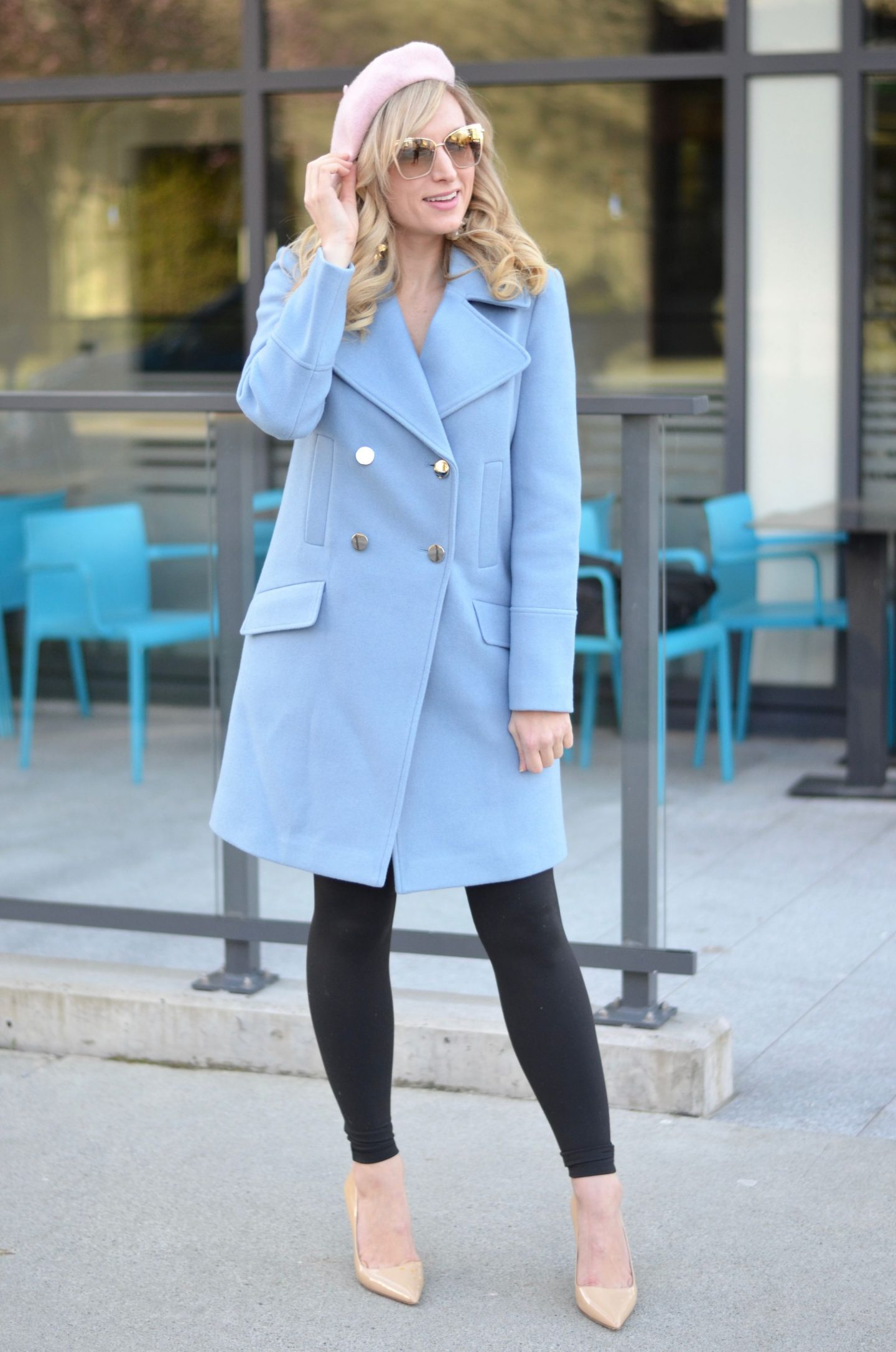 ever new wool pastel blue coat