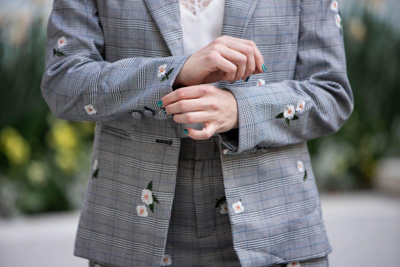 floral embroidered glen plaid blazer