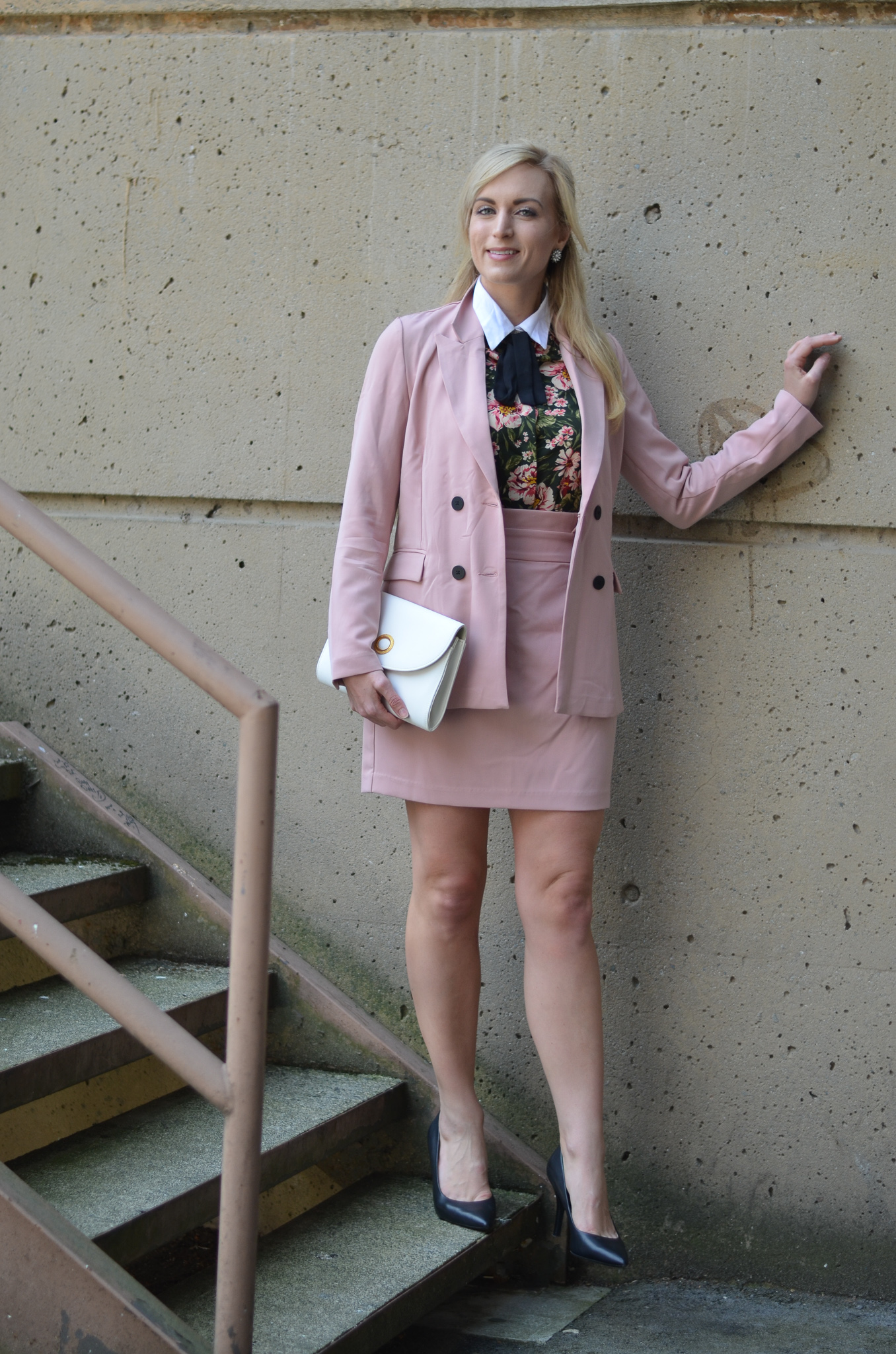 blush pink women's suit