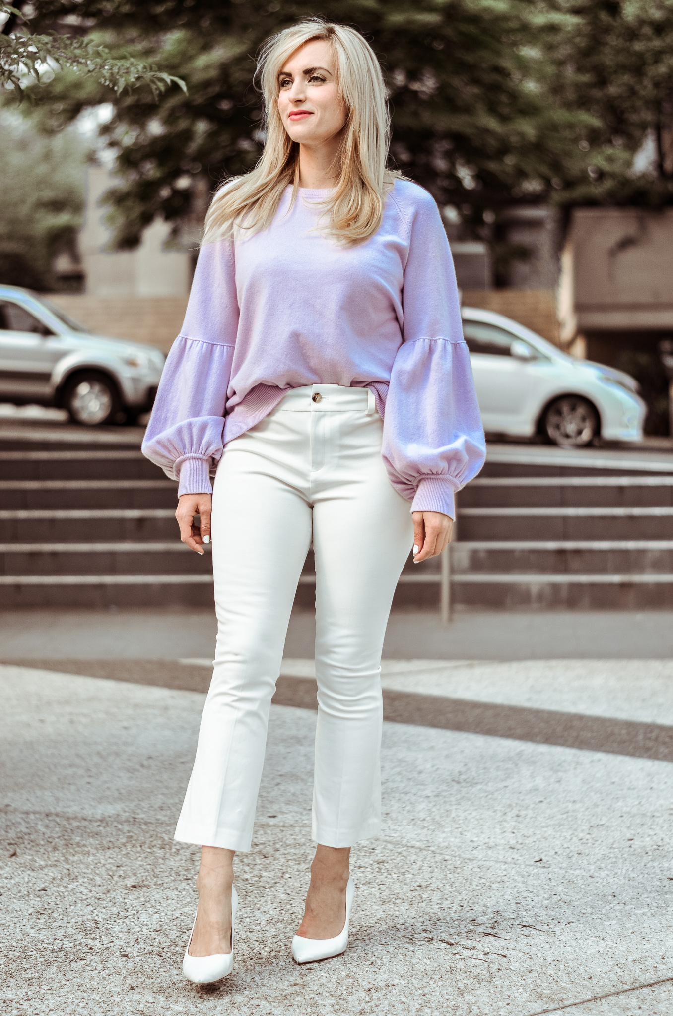 what to wear to a freezing office in the summer white capri pants and lilac cashmere sweater