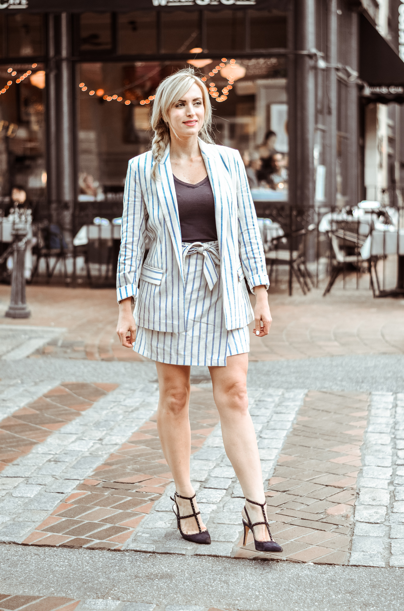 striped skirt suit H&M