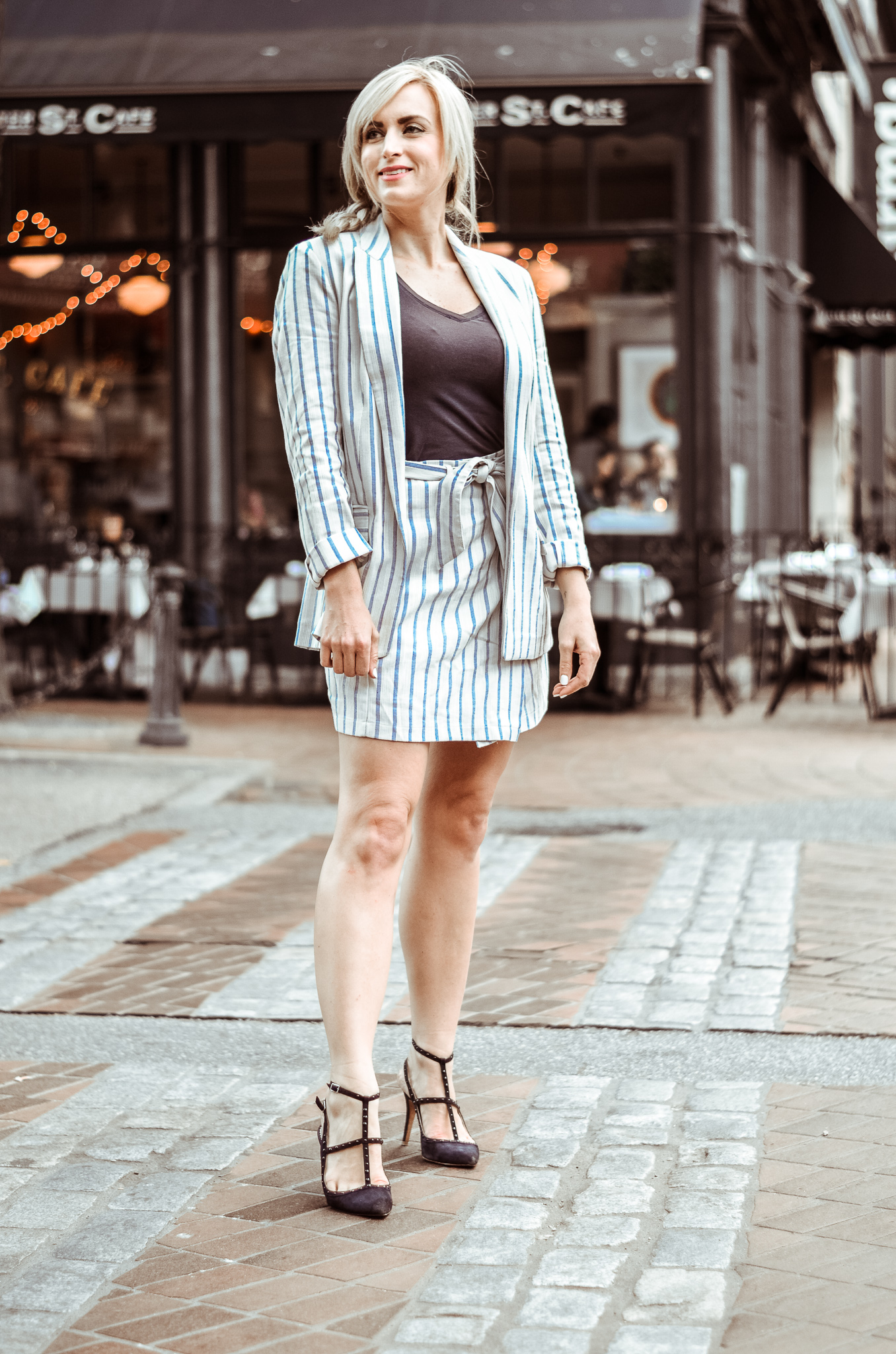 striped linen blazer and striped wrap mini skirt H&M