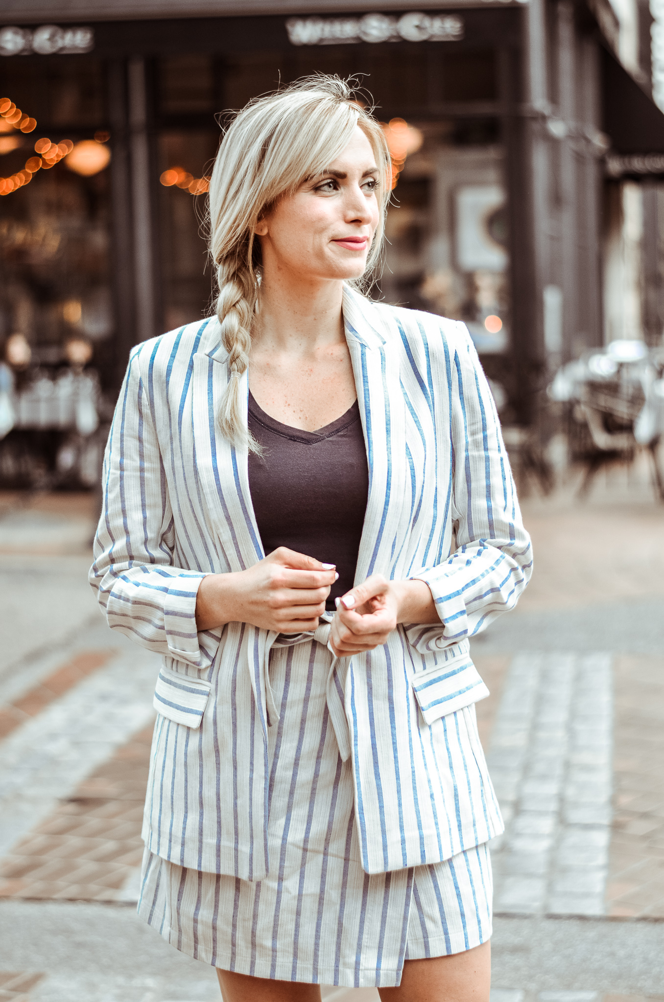 striped linen blazer and matching skirt