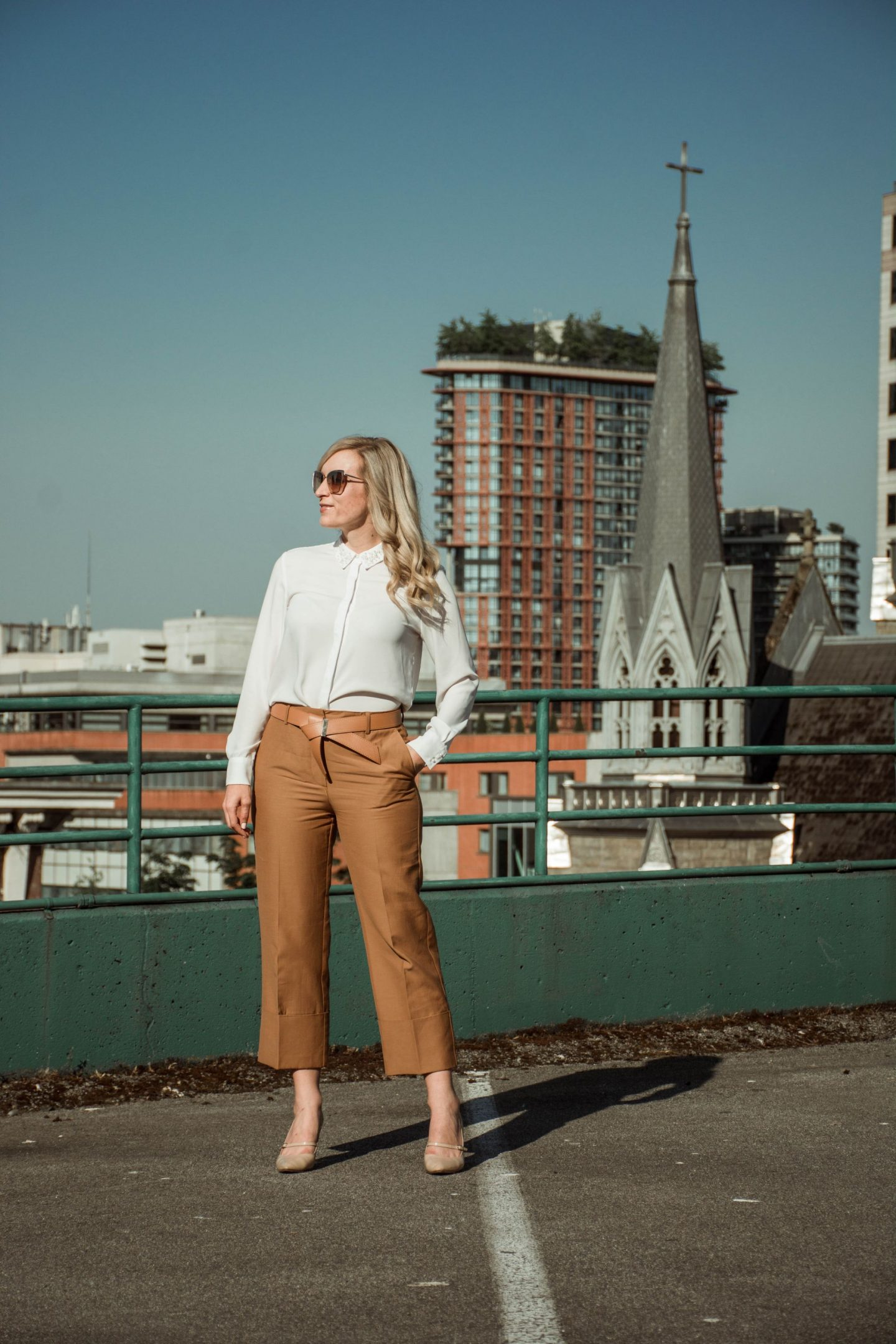 fashion blogger LegalLee Blonde camel culottes and white blouse - how to wear culottes to work