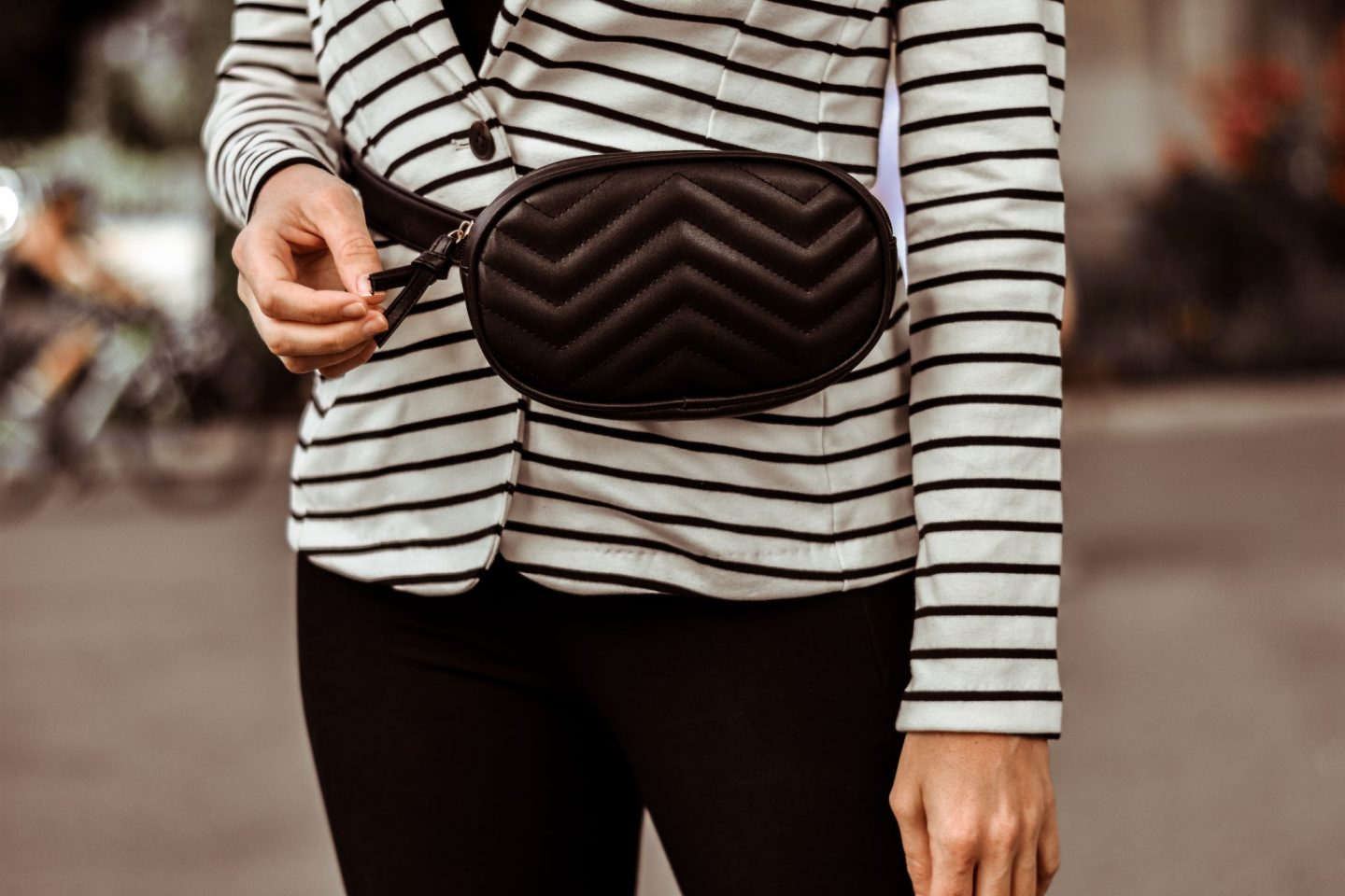 black chevron belt bag