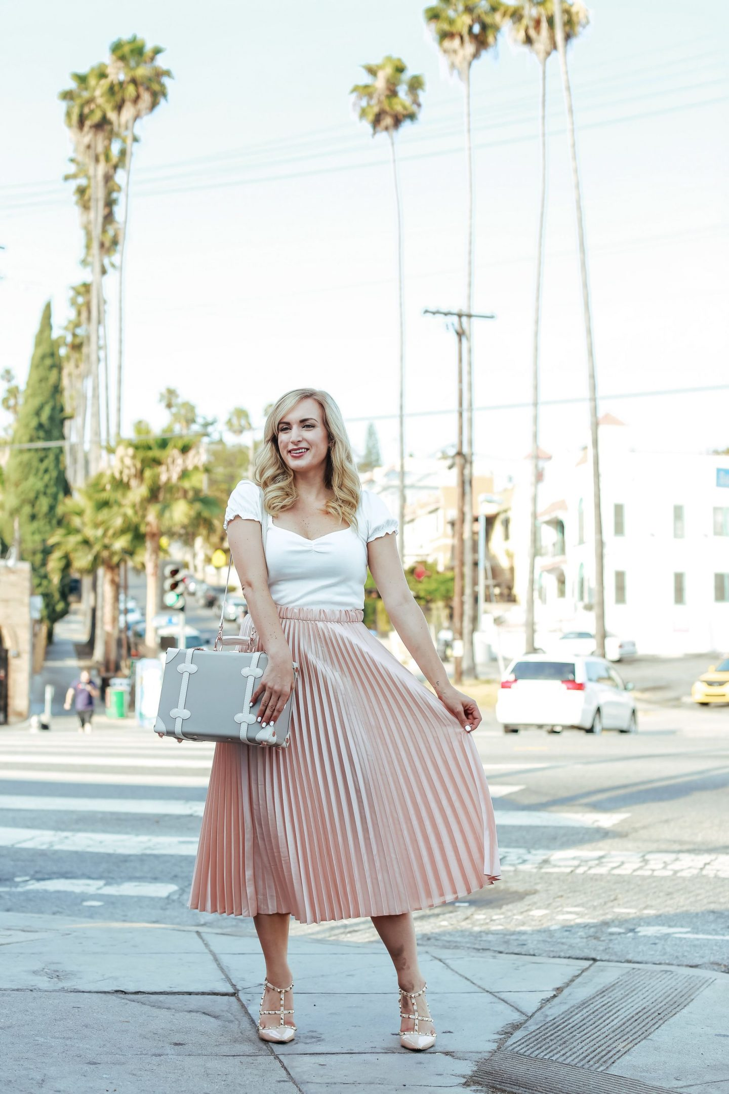 legallee blonde vintage inspired outfit pink pleated skirt