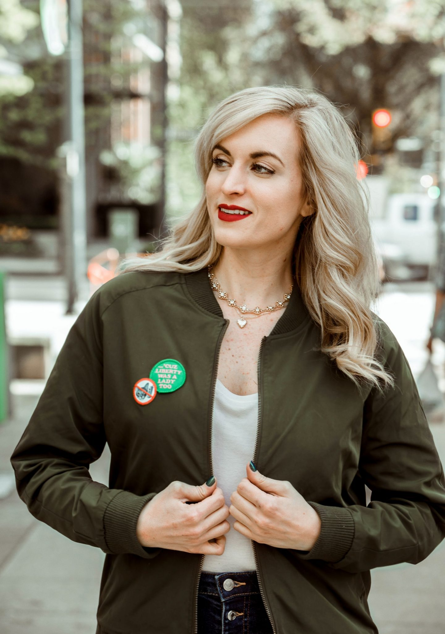 fashion blogger wearing wildfang feminist bomber jacket