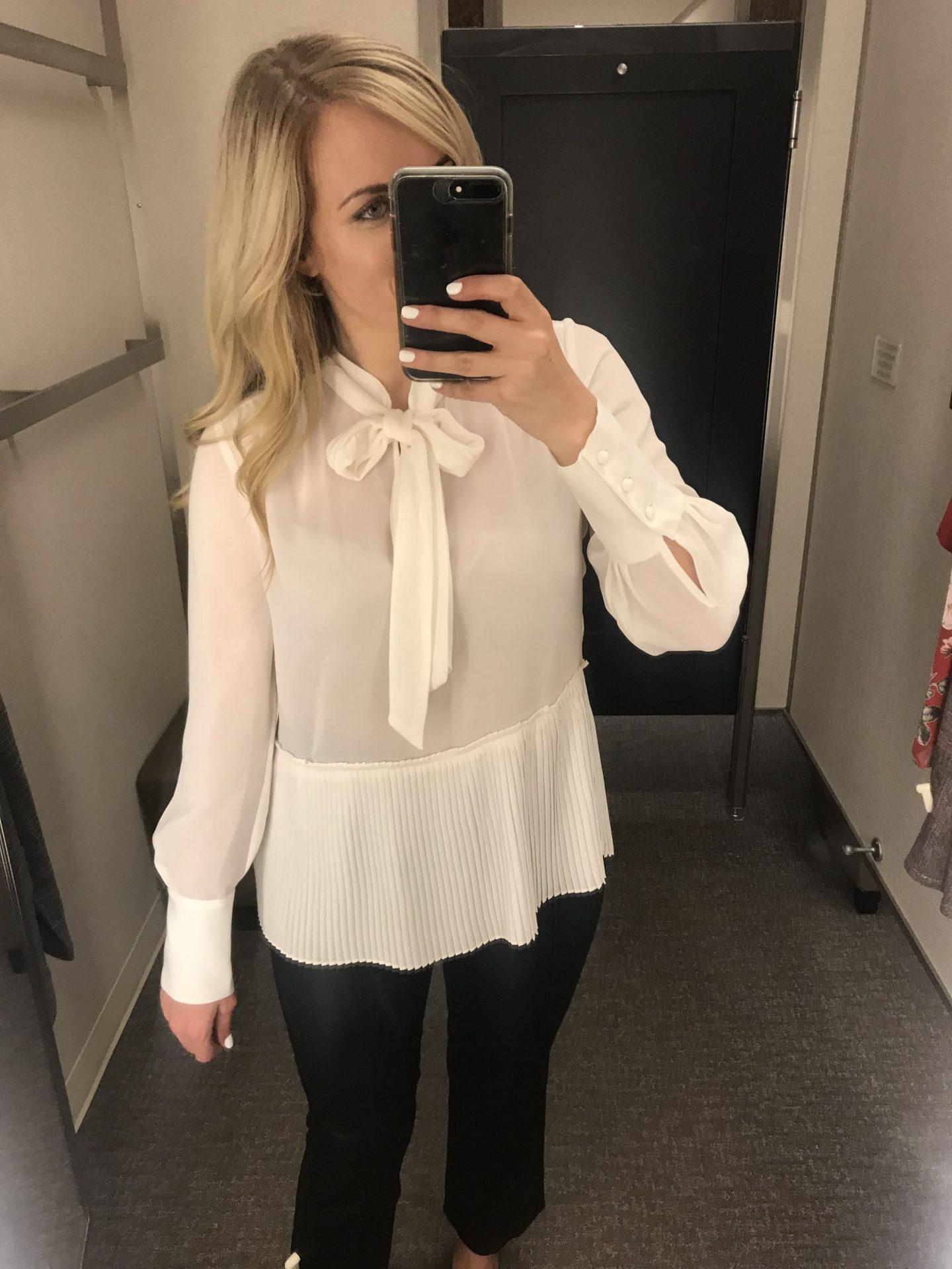 frame bow tie neck blouse with peplum hem