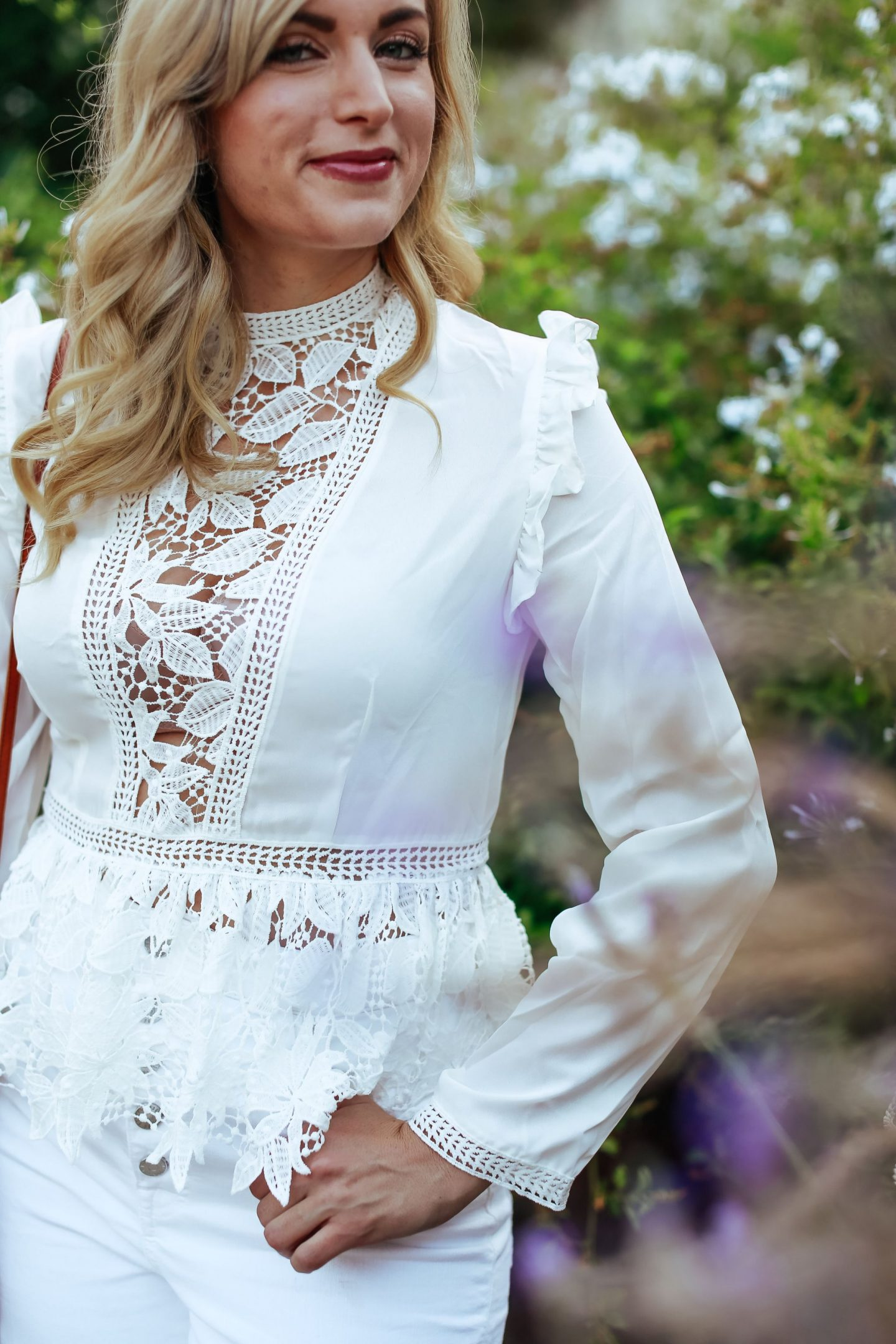 legallee blonde white lace peplum top