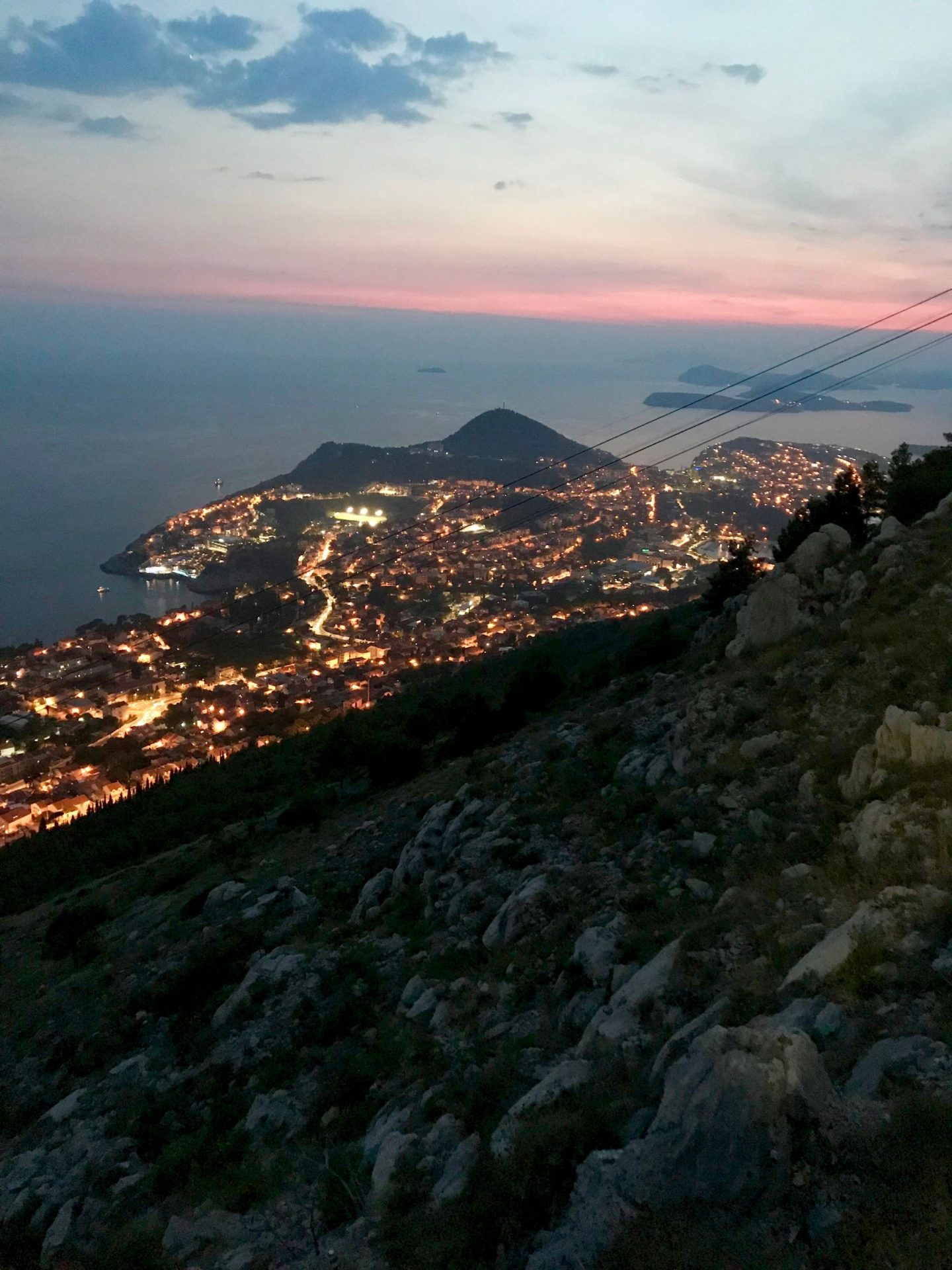 night time view from mt srd dubrovnik