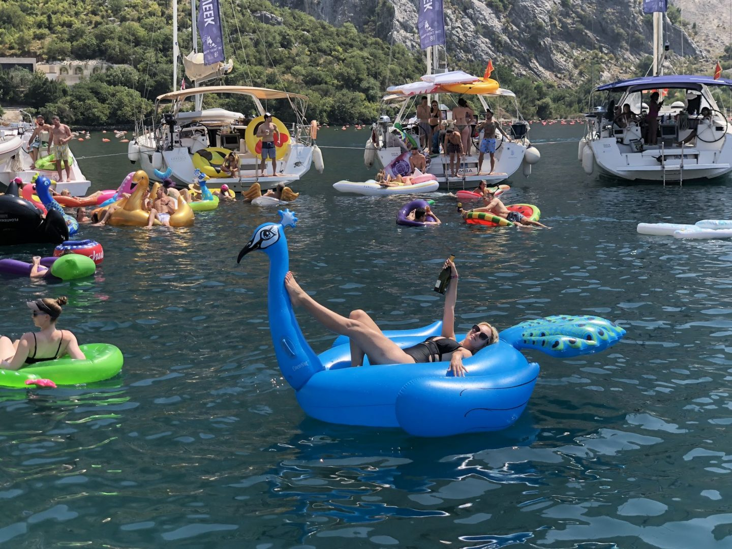 floating on a peacock floatie, kotor, the yacht week montenegro