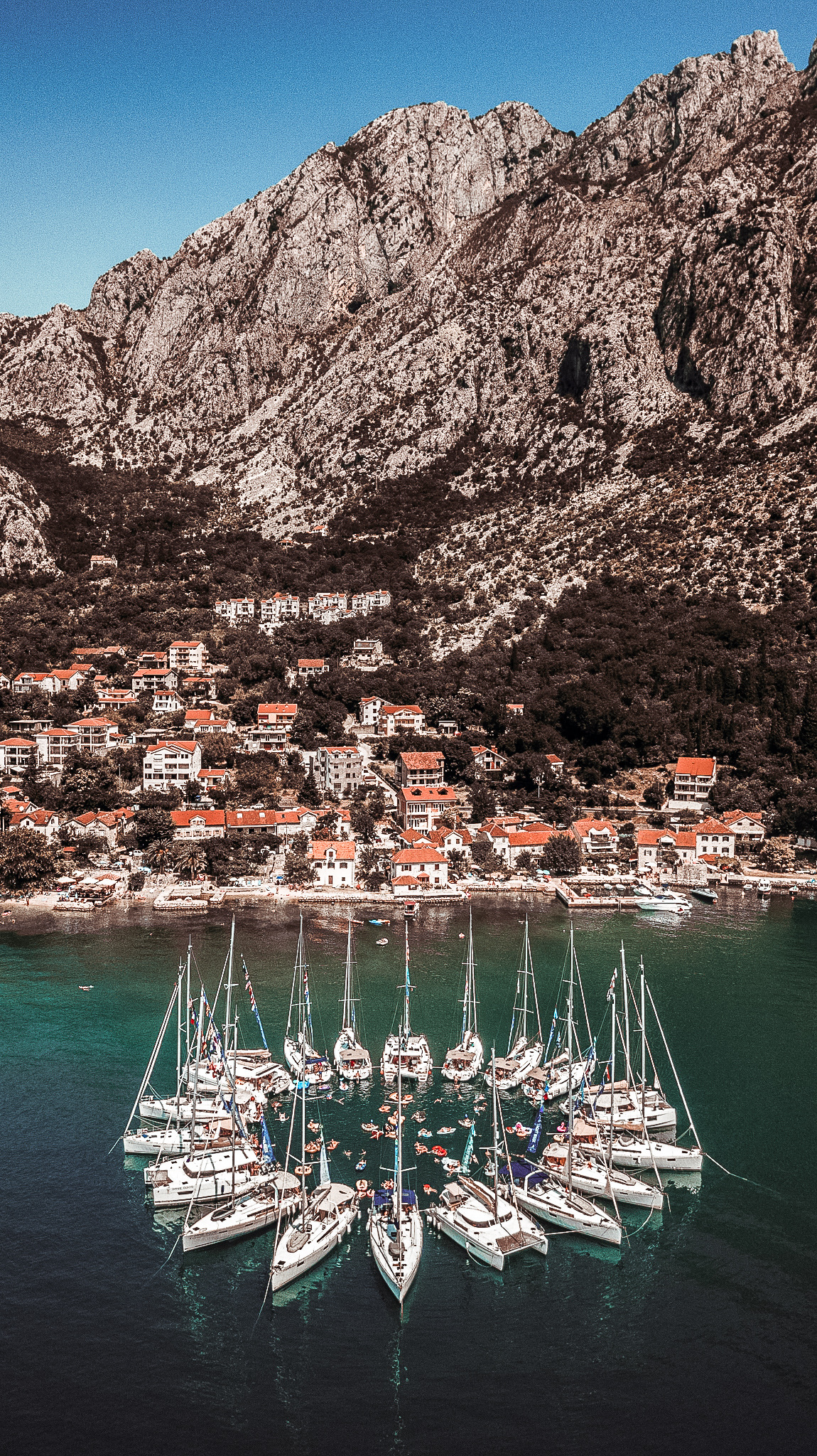 yachts in a circle raft - the yacht week montenegro