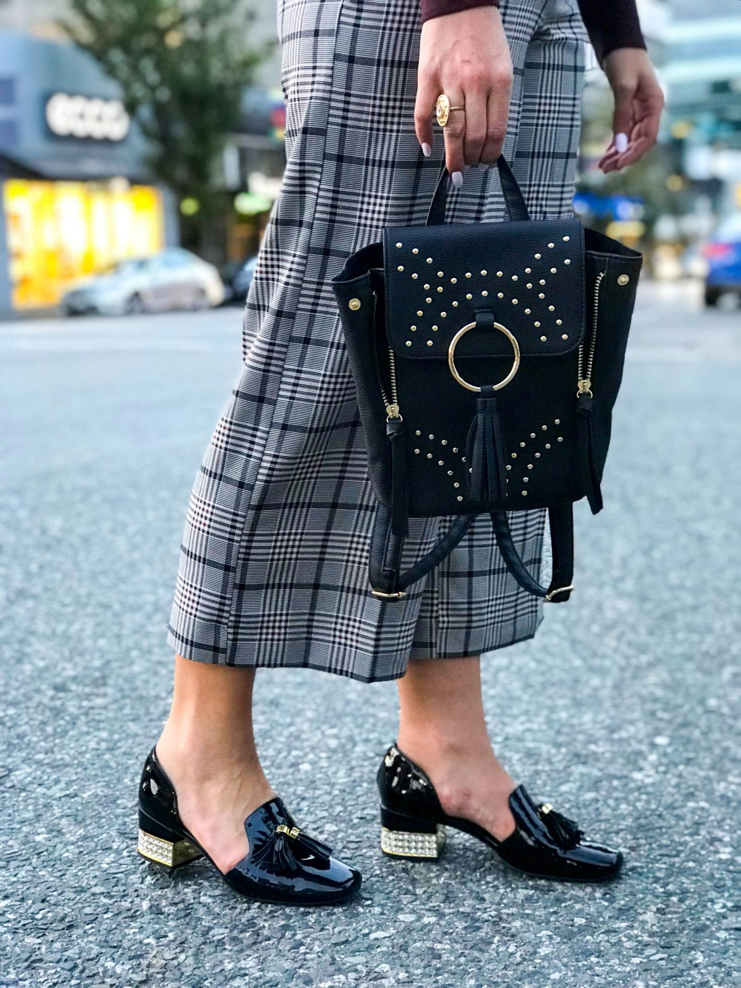 studded backpack and jeffery campbell heels
