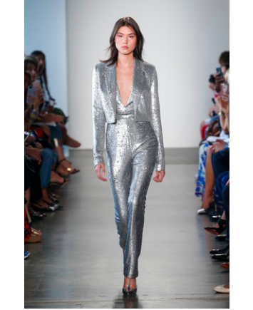 silver sequin jumpsuit pamella roland new york fashion week runway show