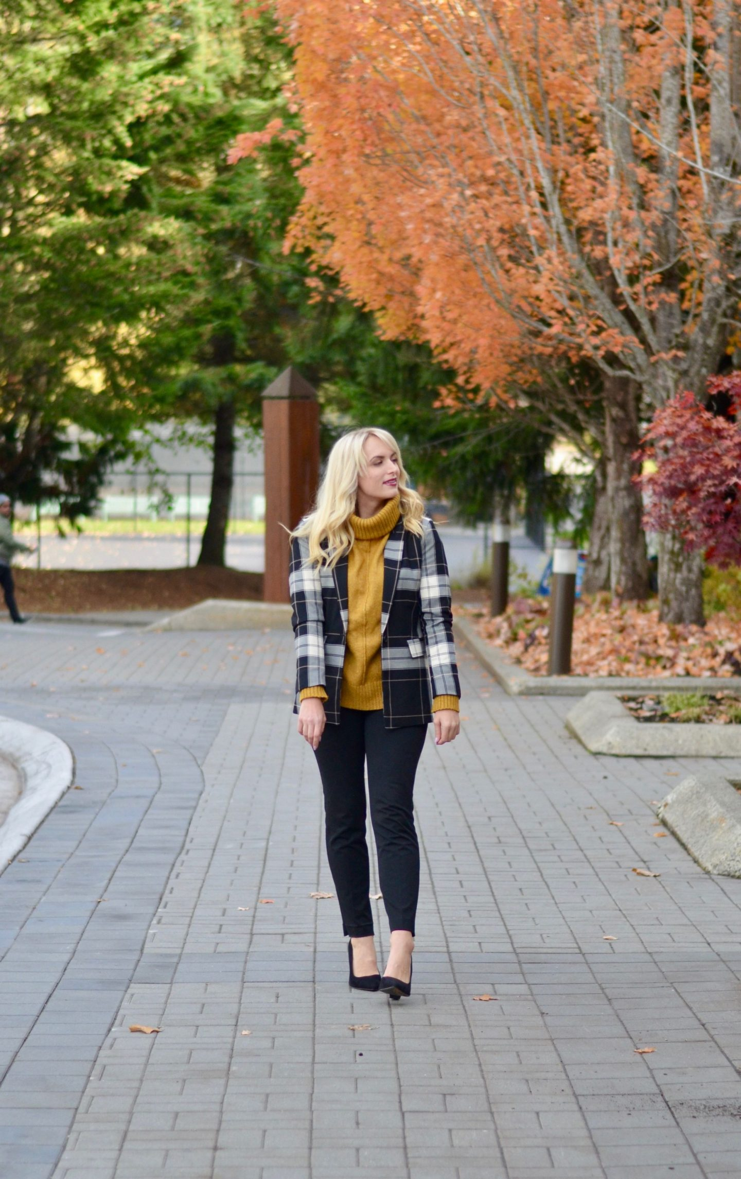 legallee blonde in mustard turtleneck - how to layer for work