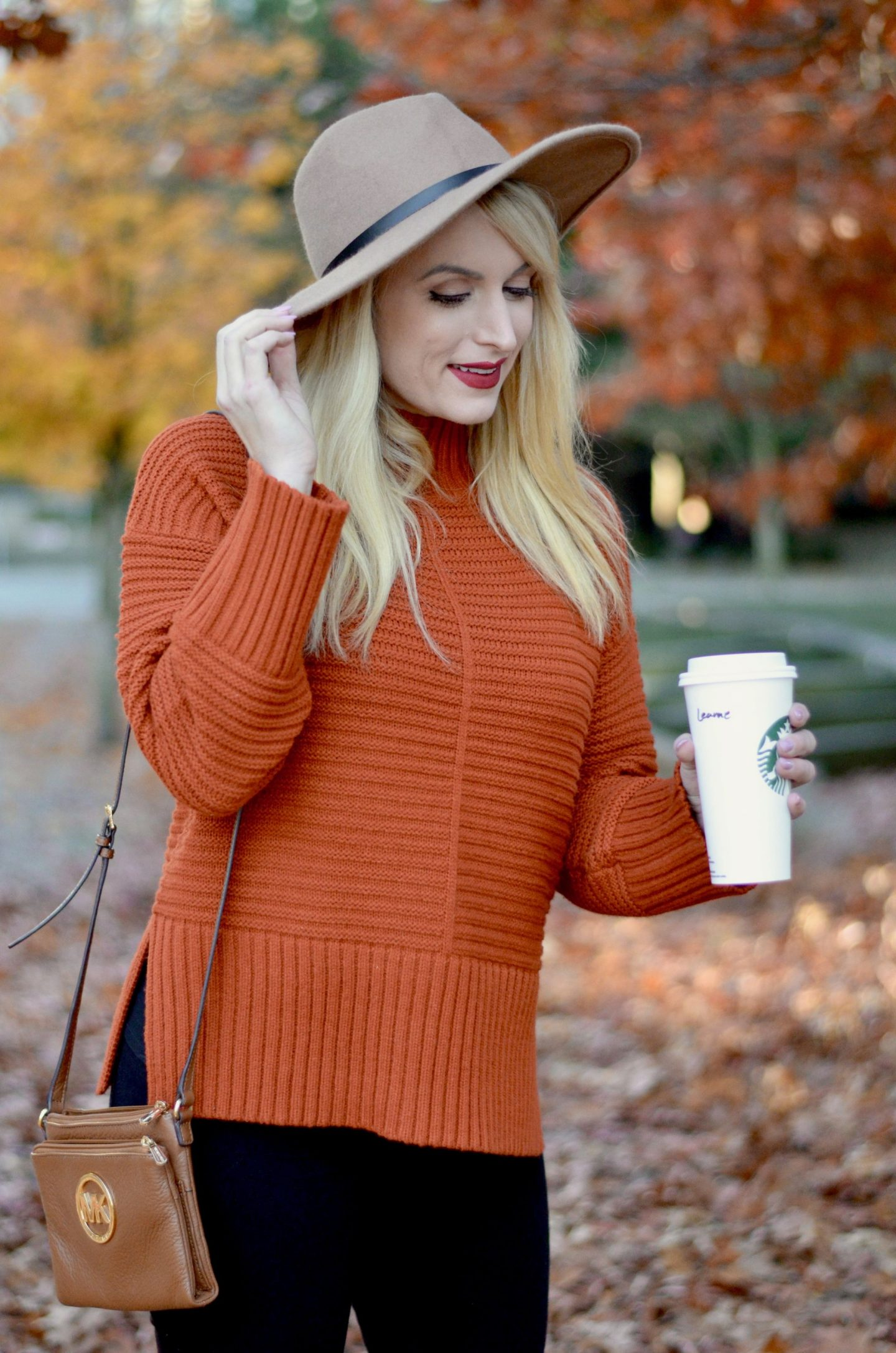 fall outfit idea rust sweater