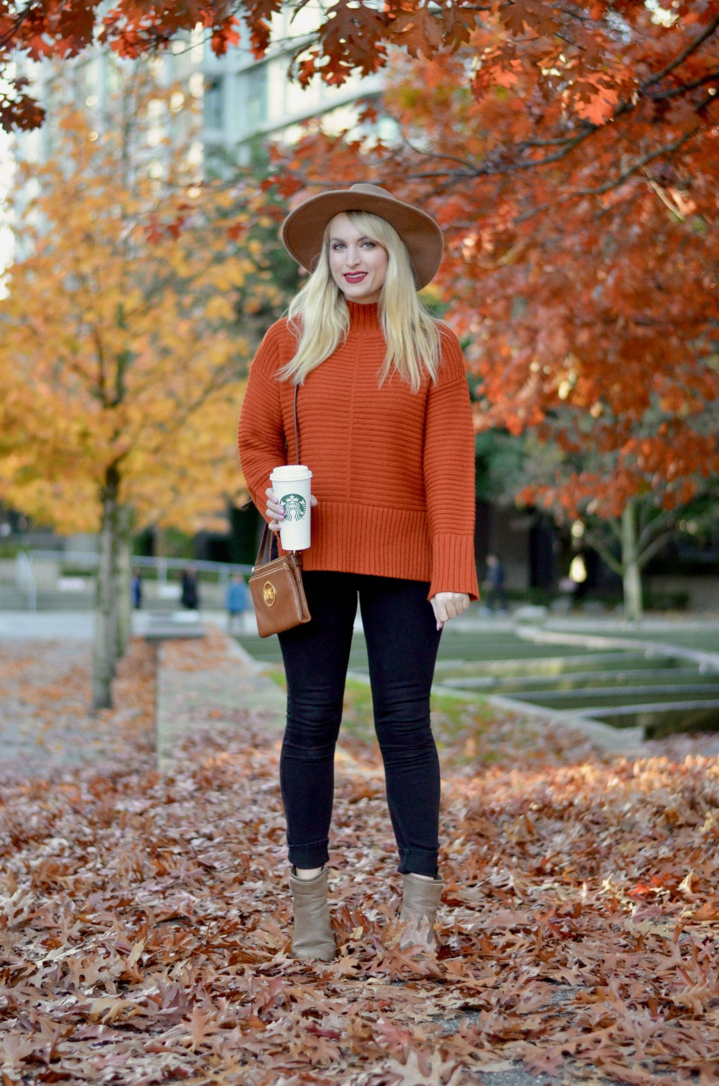 cozy orange sweater for fall on legallee blonde