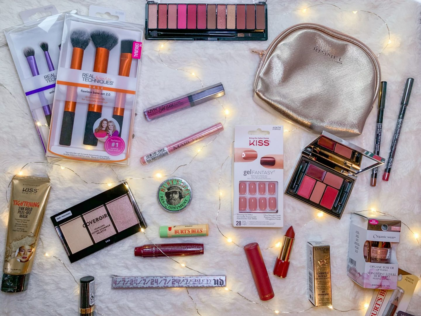 makeup and beauty products from KISS, cover girl, Burt's Bees and more