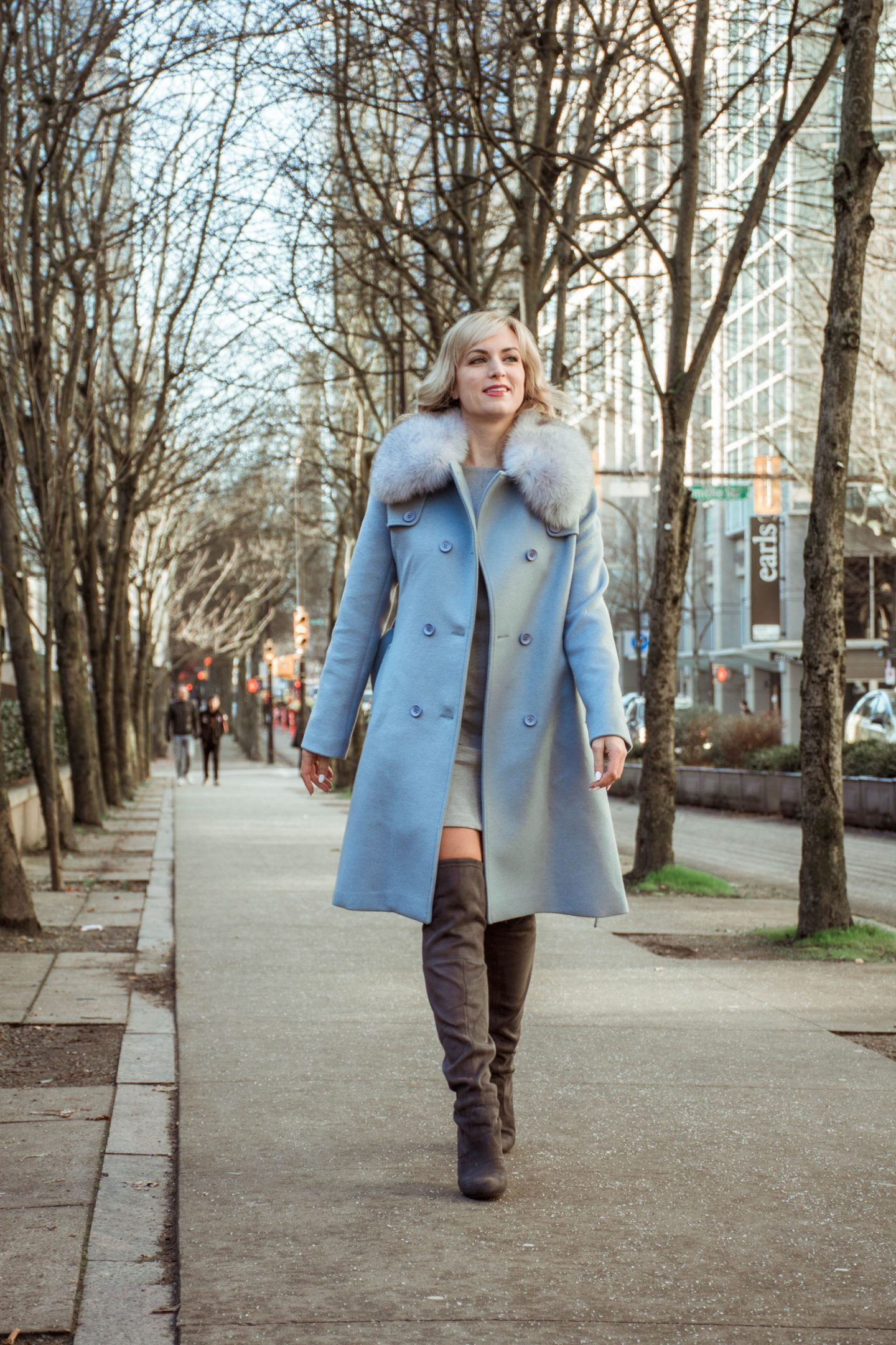 legalleeblonde in sicily clothing coat and grey over the knee boots