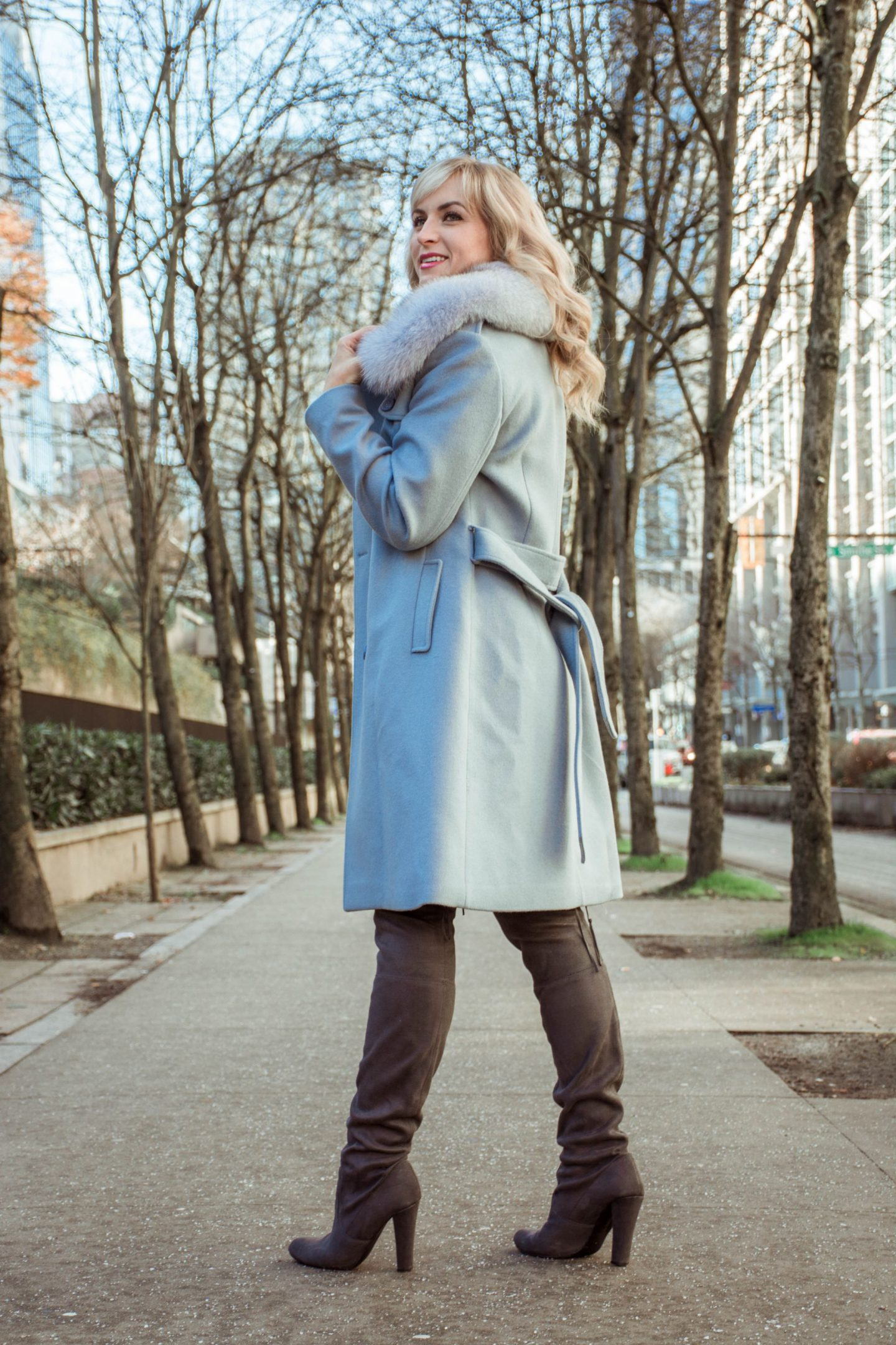 sicily clothing pale blue coat and grey suede boots