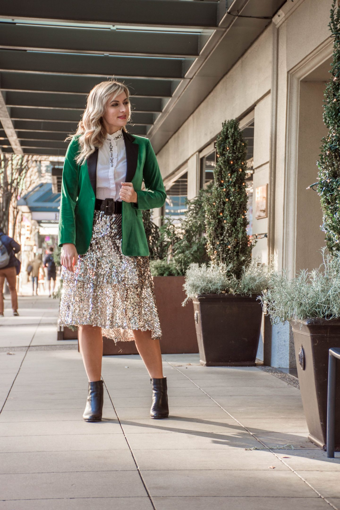 holiday office party outfit legallee blonde green velvet blazer and silver sequin midi skirt