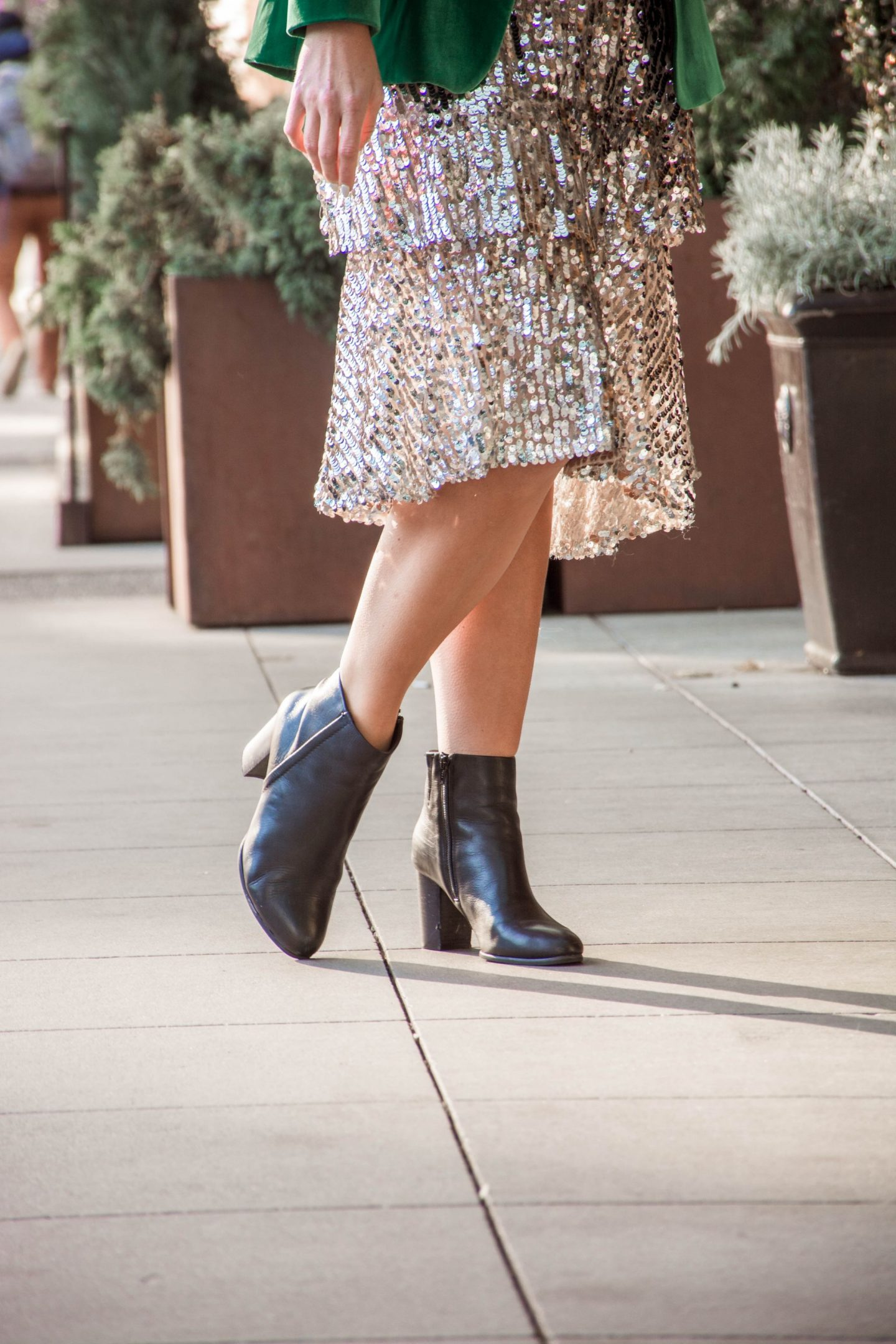 holiday office party outfit vionic ankle boots and sequin midi skirt