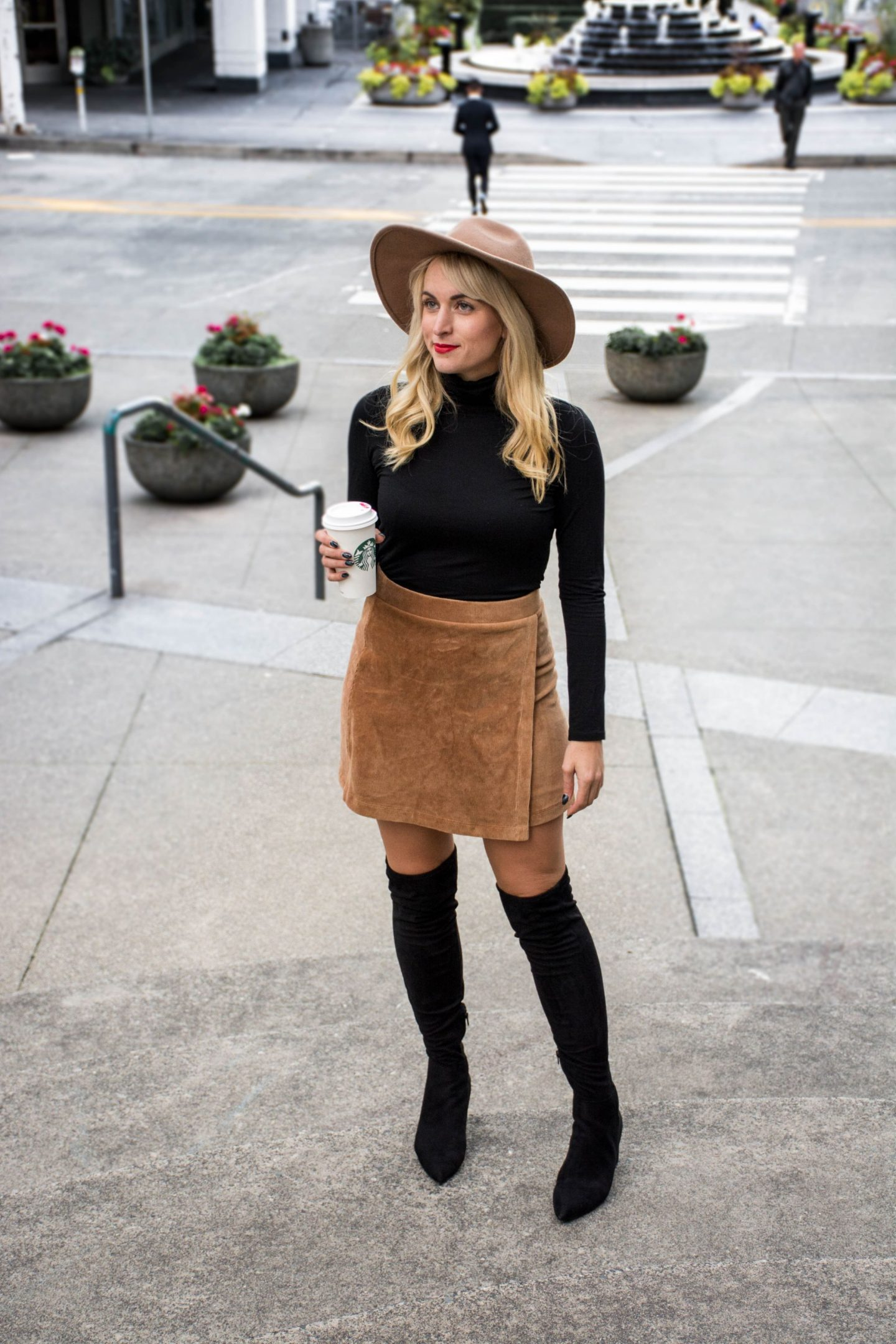 black and camel outfit ideas black turtleneck and camel corduroy skirt