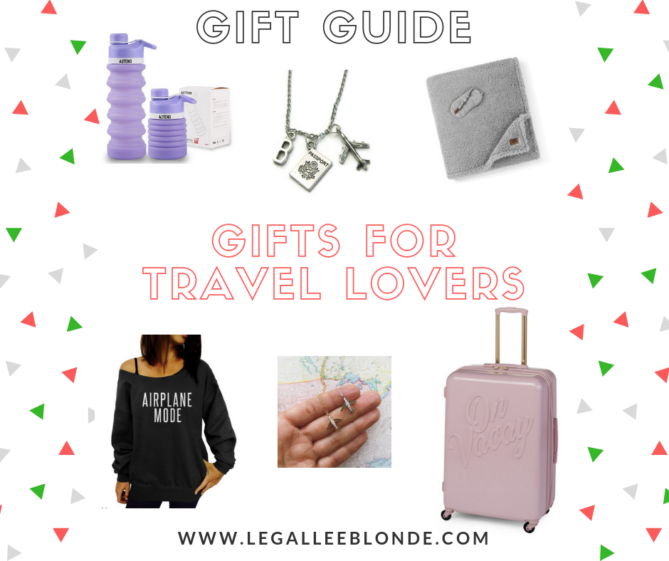 gift guide gifts for travel lovers luggage, airplane mode sweater, necklaces and more