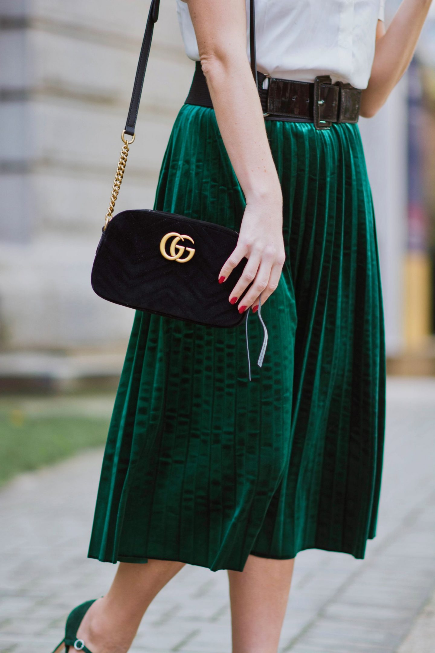 green velvet midi skirt and gucci handbag