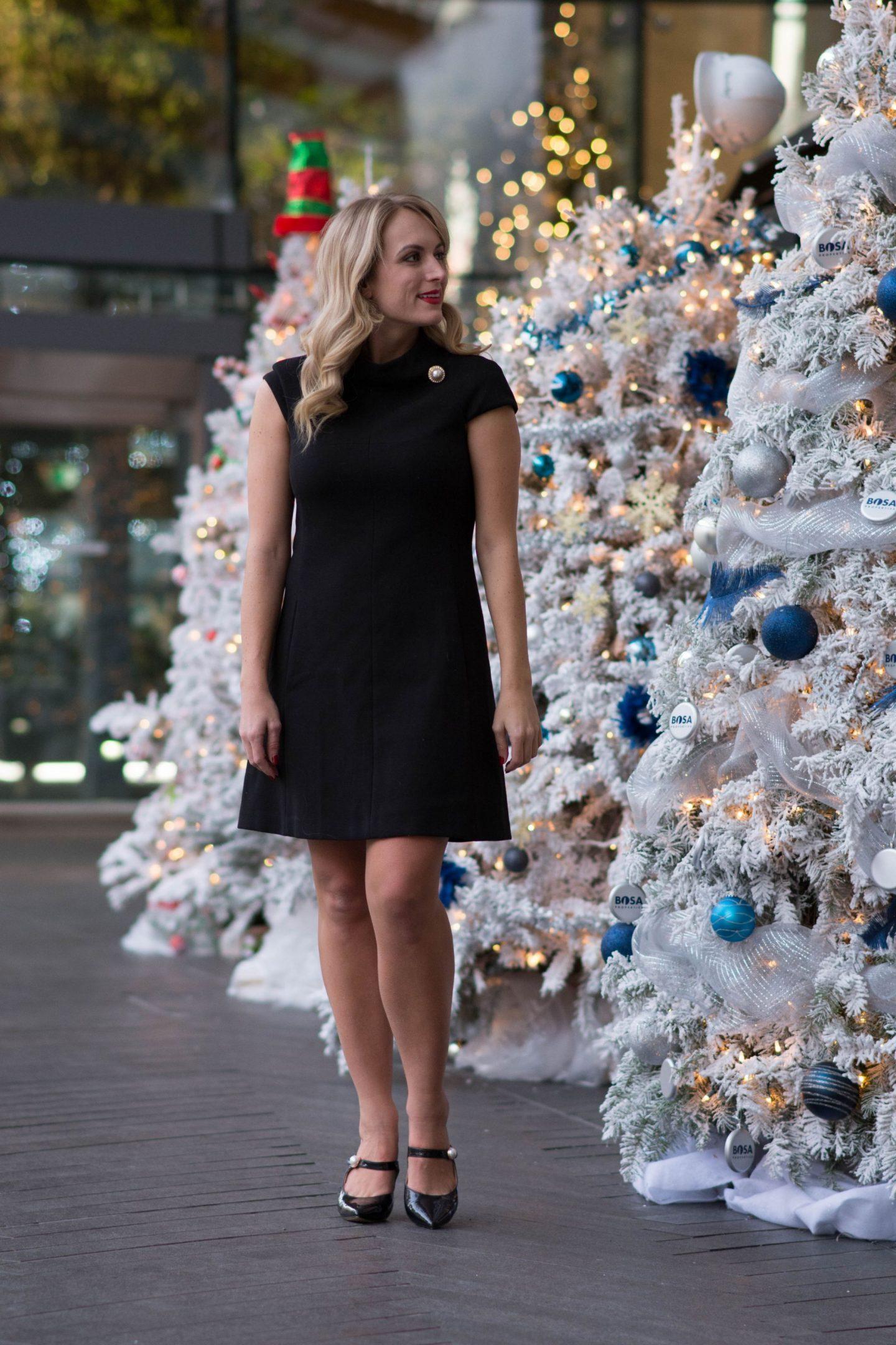 harper-rose-dress-legallee-blonde-wearing-black-a-line-dress-with-pearl-detail
