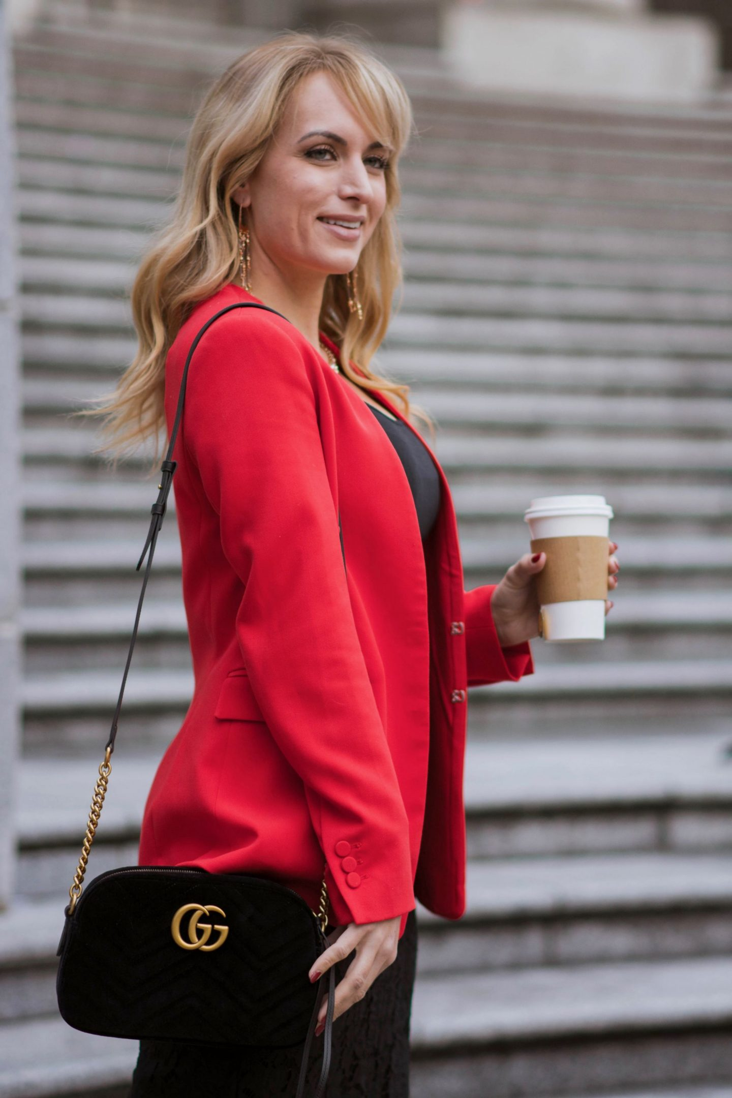 what to wear with a red blazer gucci bag black skirt