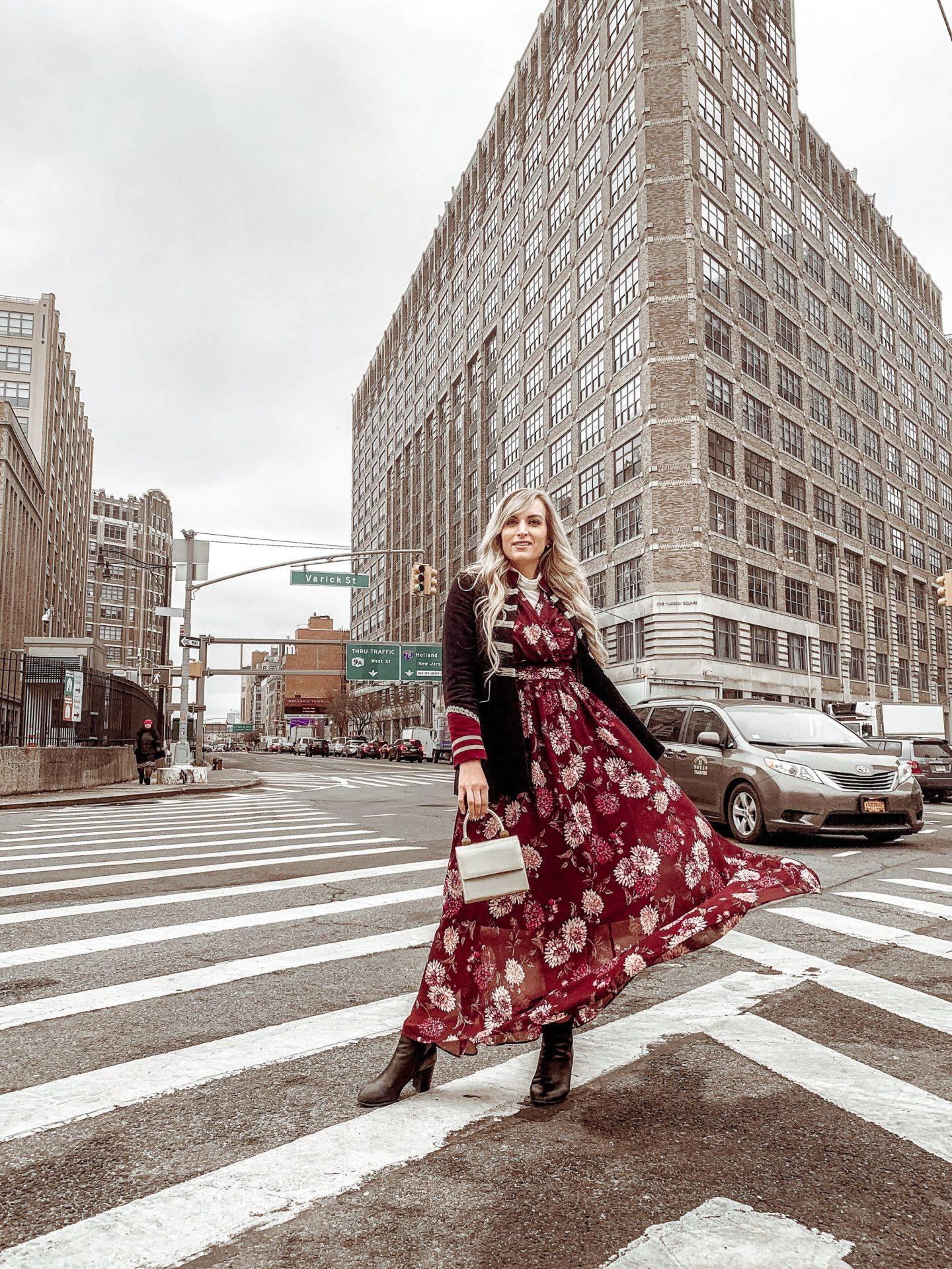 one-woman-new-york-street-long-dress-new-york-fashion-week-recap