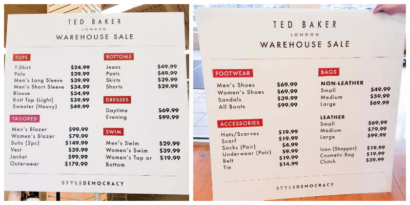 pricing-chart-ted-baker-warehouse-sale-in-vancouver