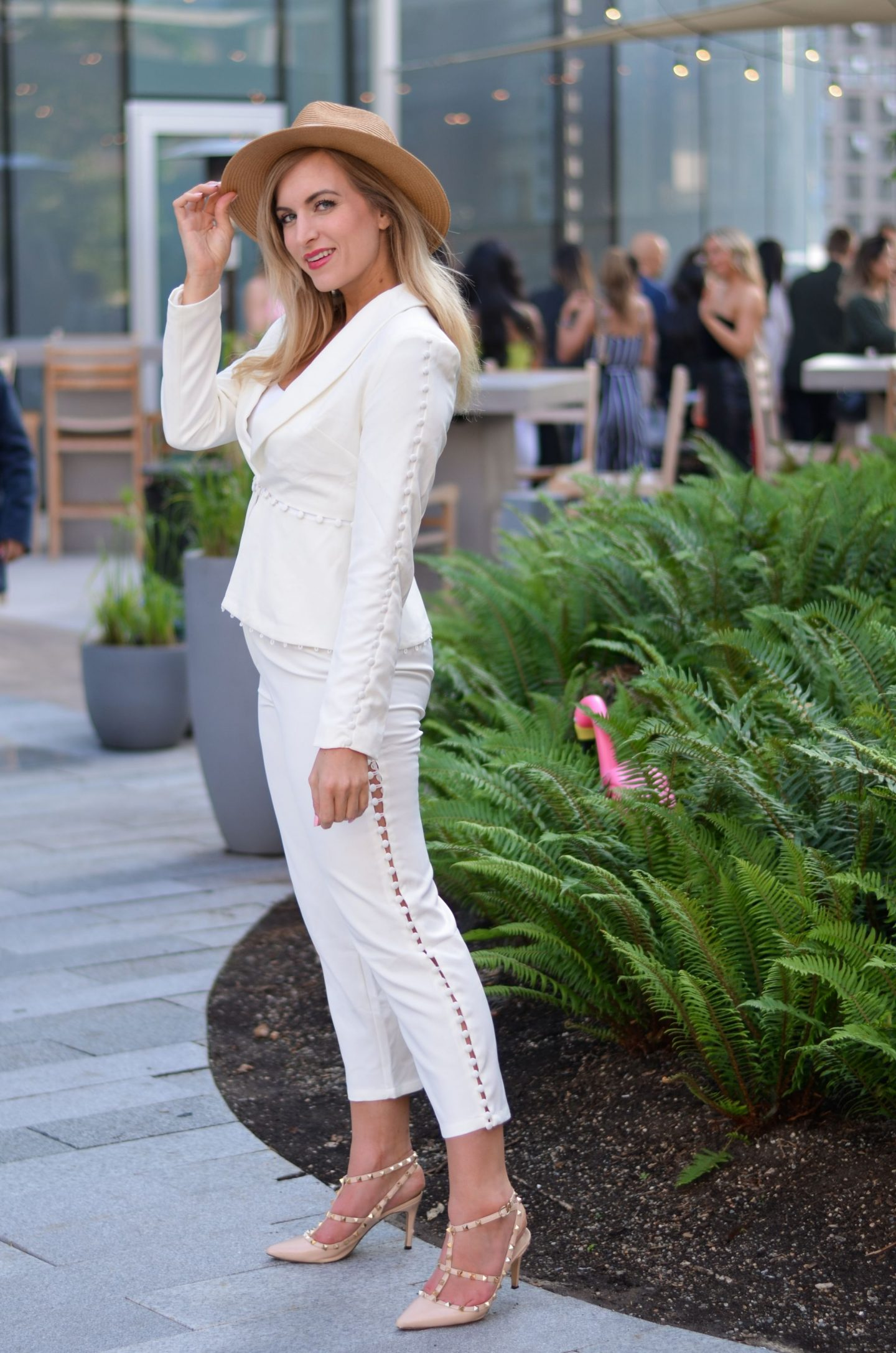 woman wearing white pantsuit from amazon fashion finds