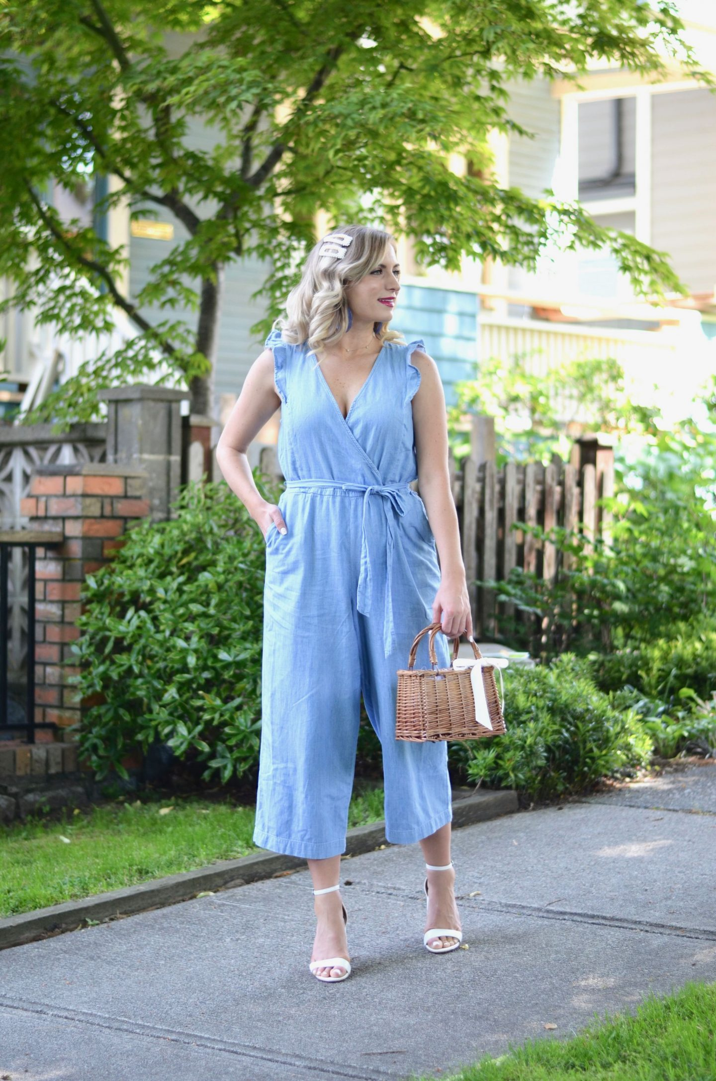 how to style chambray faux wrap jumpsuit