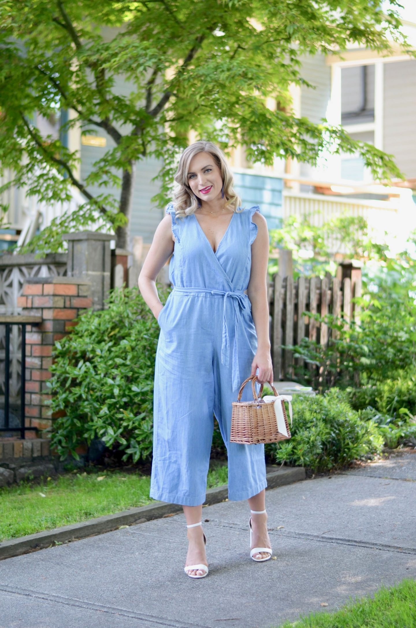 faux wrap jumpsuit how to style chambray